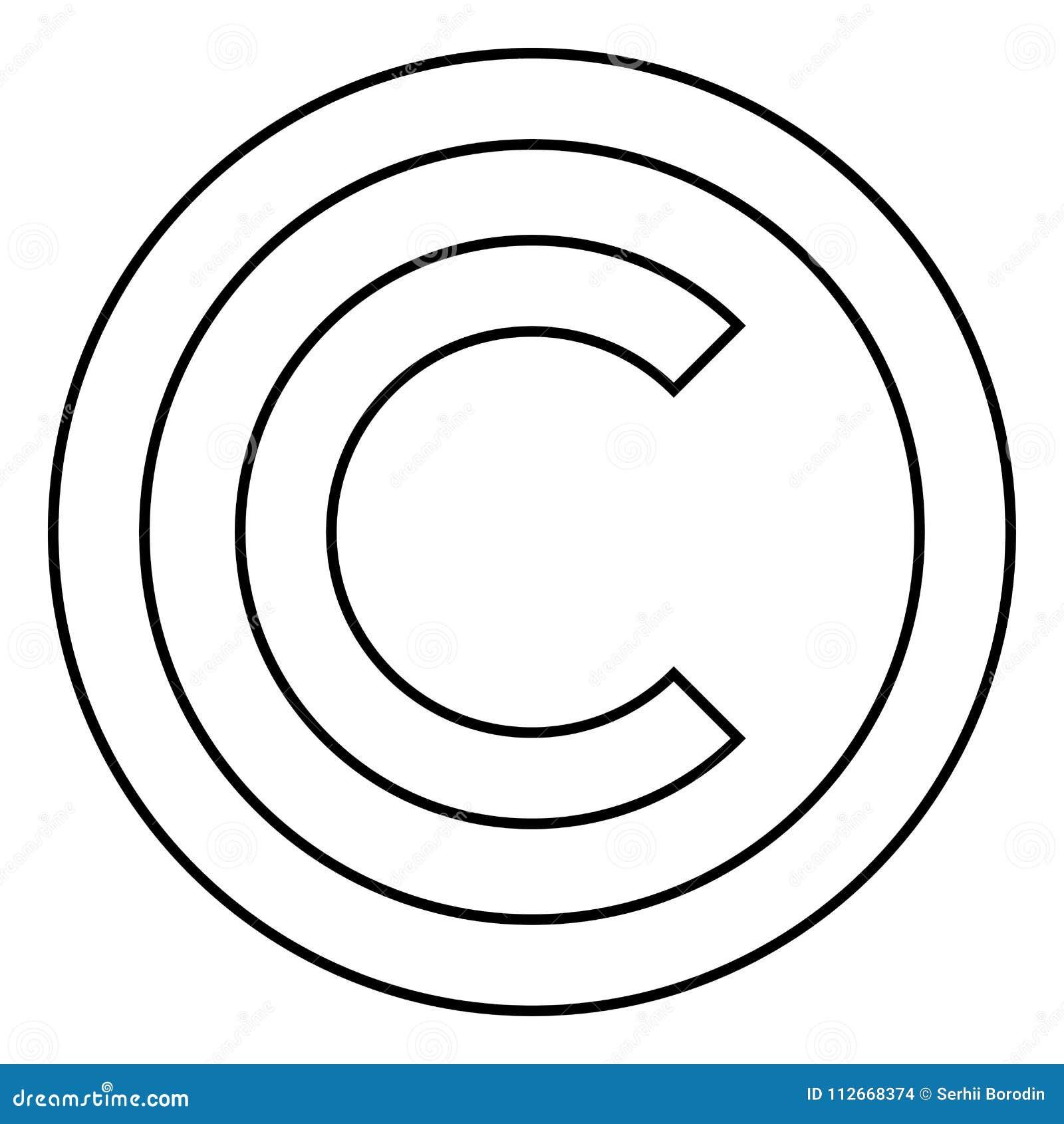 Copyright Symbol Icon Black Color Illustration Flat Style Simple