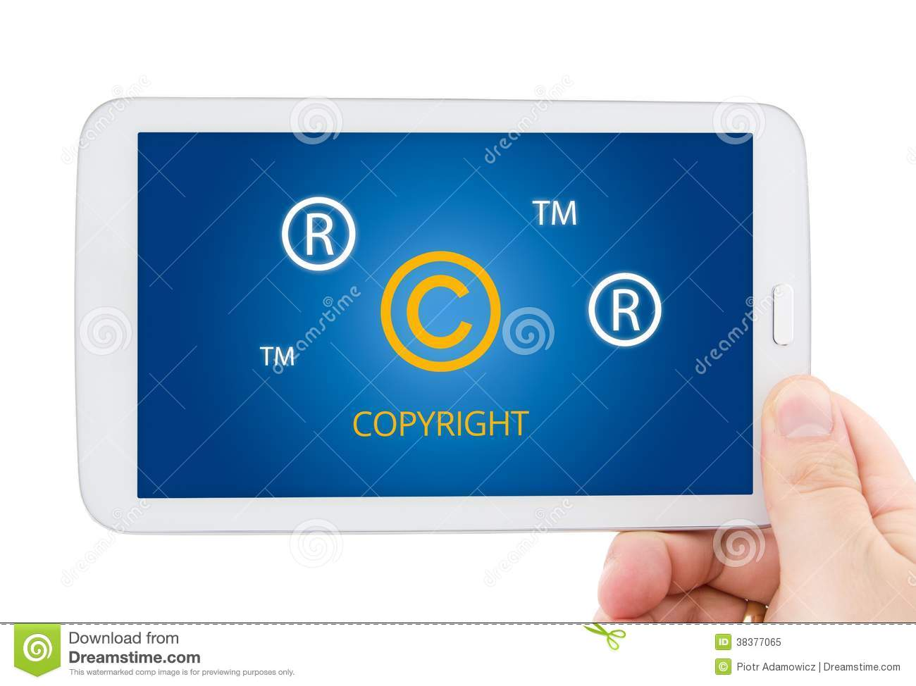 Copyright Symbols On Tablet Pc Display Stock Image Image Of