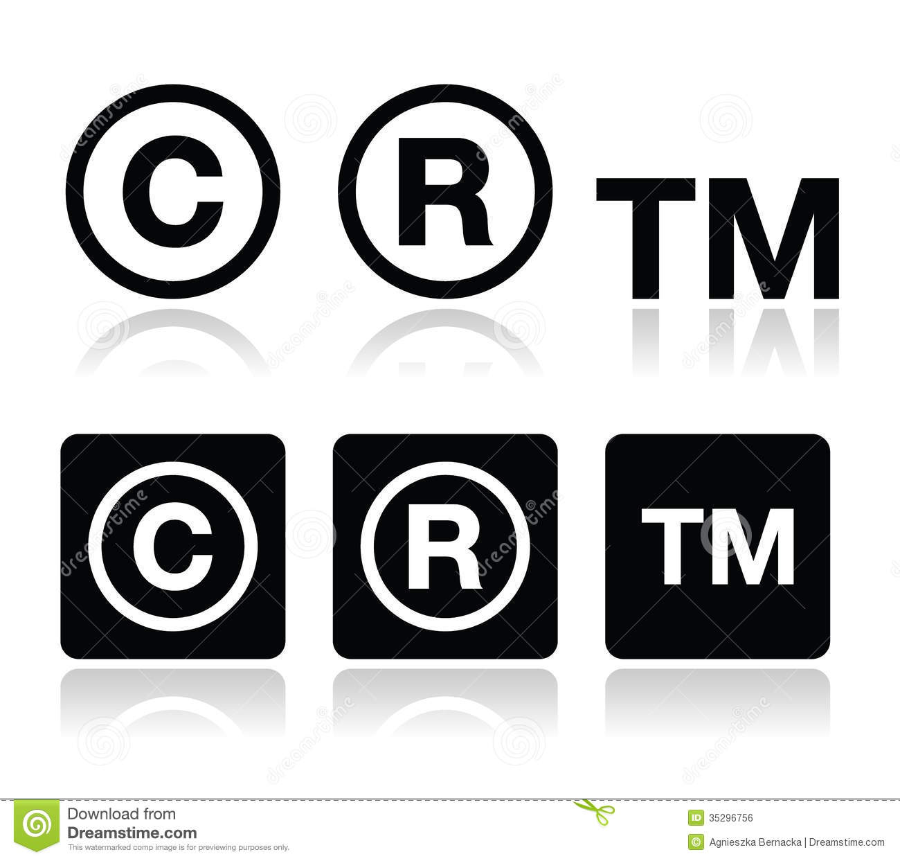Copyright, Trademark Vector Icons Set Royalty Free Stock Image ...