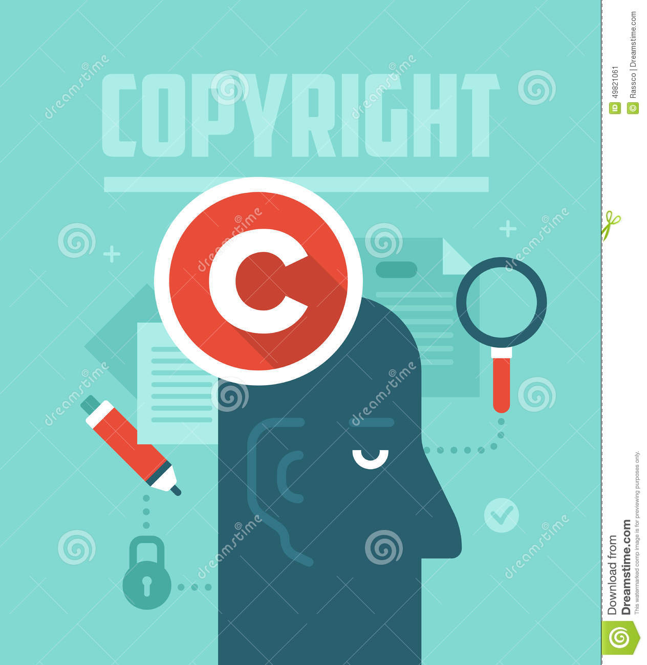 Intellectual Property Protection: Copyrighting Concept Stock Vector. Illustration Of Right