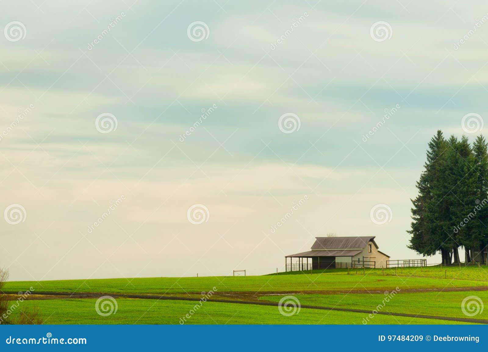 Copyspace della terra dell azienda agricola con il granaio e gli alberi