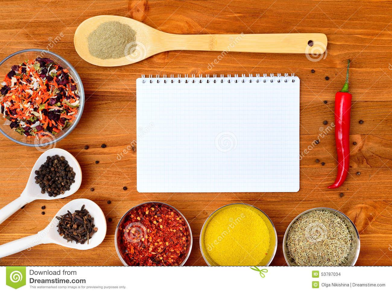 Copyspace Food Frame With Notepad Paper Spices And Cooking ...