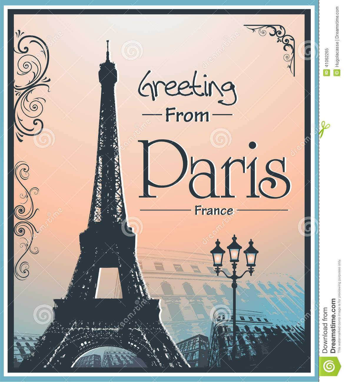 Copyspace Retro Style Poster With Paris Background Stock