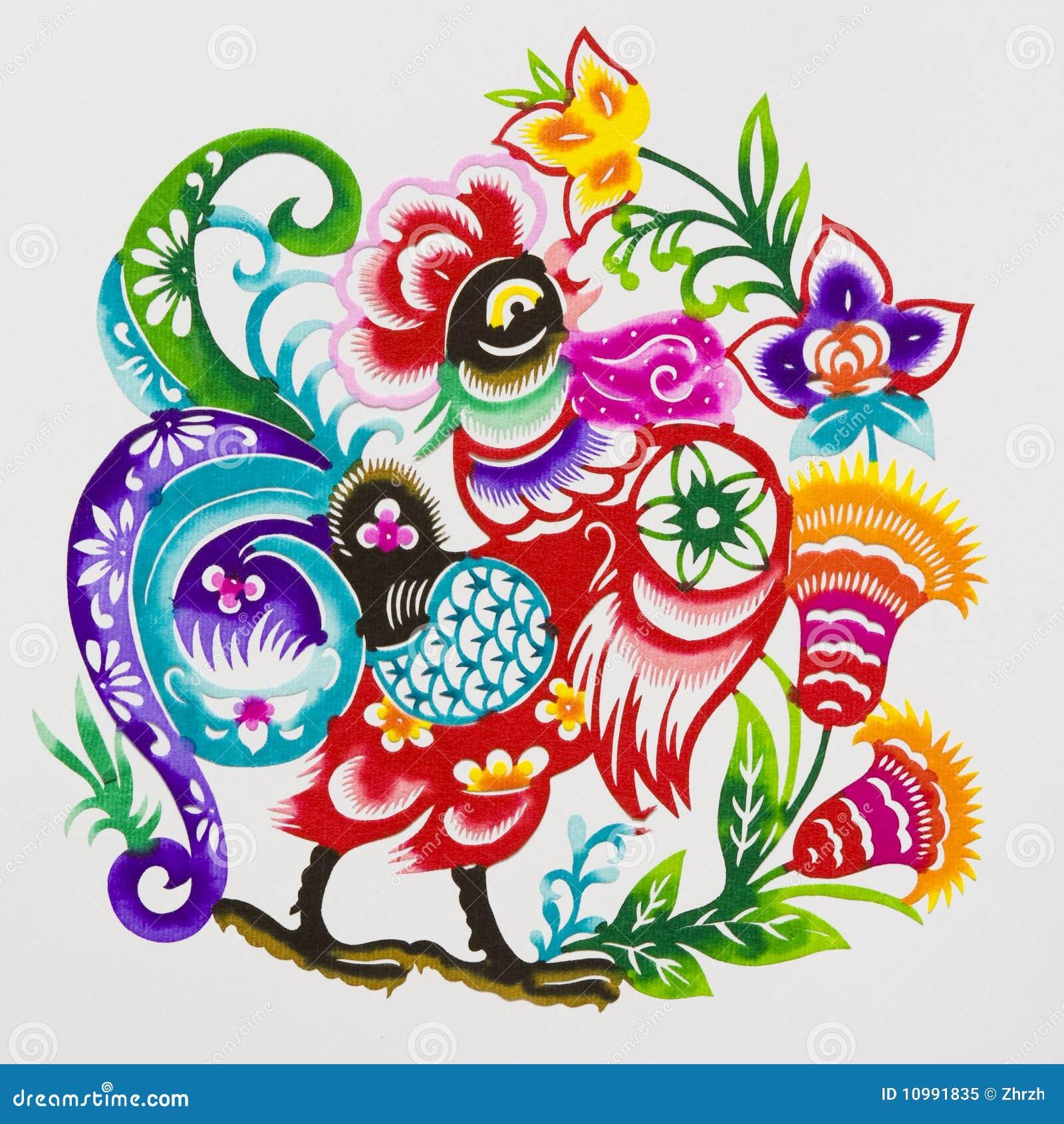 coq, découpage de papier de couleur. zodiaque chinois. image stock