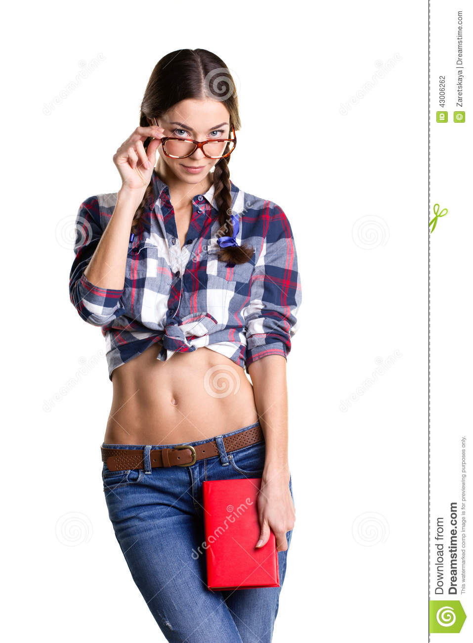Coquettish girl with book