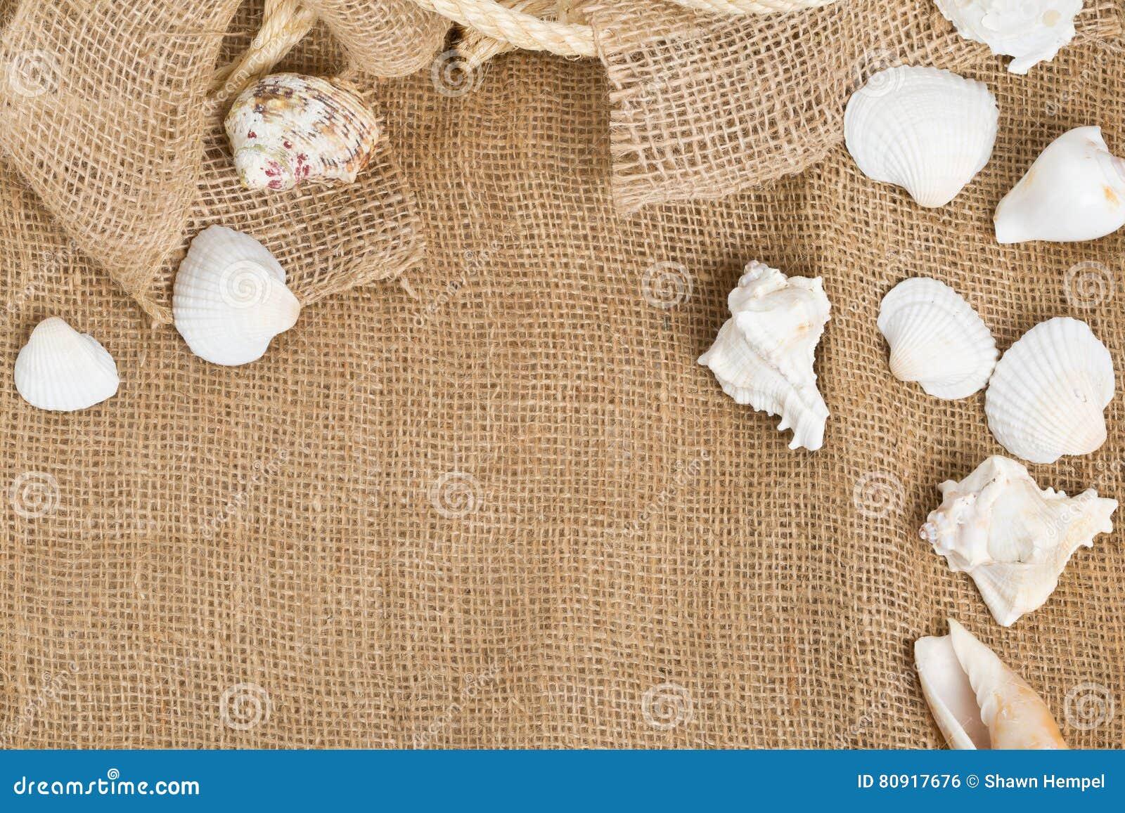 Coquillages avec la corde sur le tissu brun de toile de jute