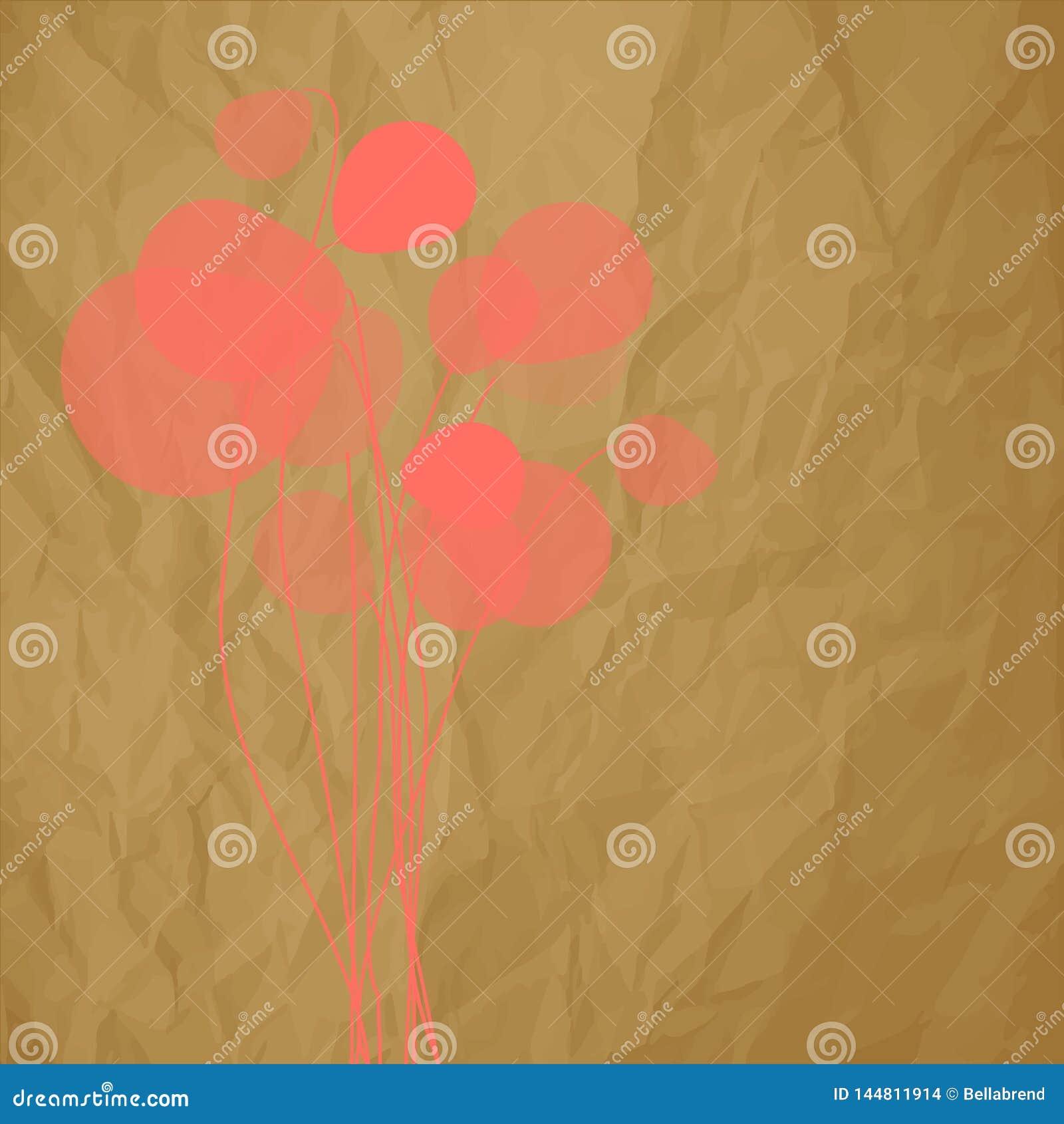 Cor coral dos dentes-de-leão das flores em um fundo marrom de papel amarrotado