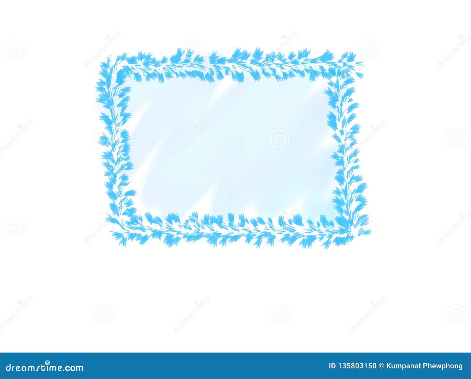 Cor de água abstrata da tinta, quadro azul das folhas no fundo branco com espaço da cópia para a bandeira ou logotipo