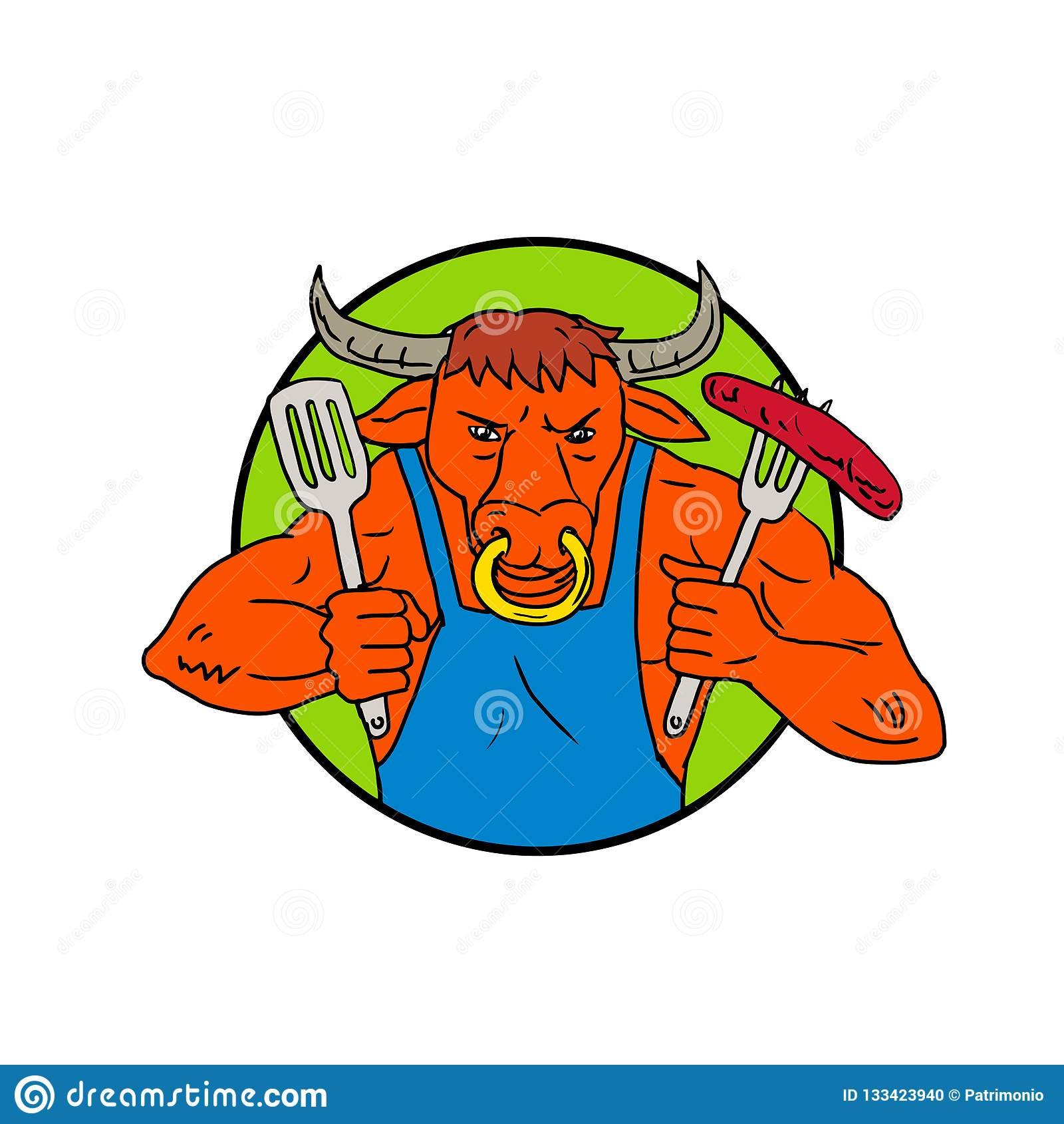 Cor De Desenho Da Salsicha Do Assado Da Terra Arrendada De Bull Ilustracao Do Vetor Ilustracao De Terra Arrendada 133423940