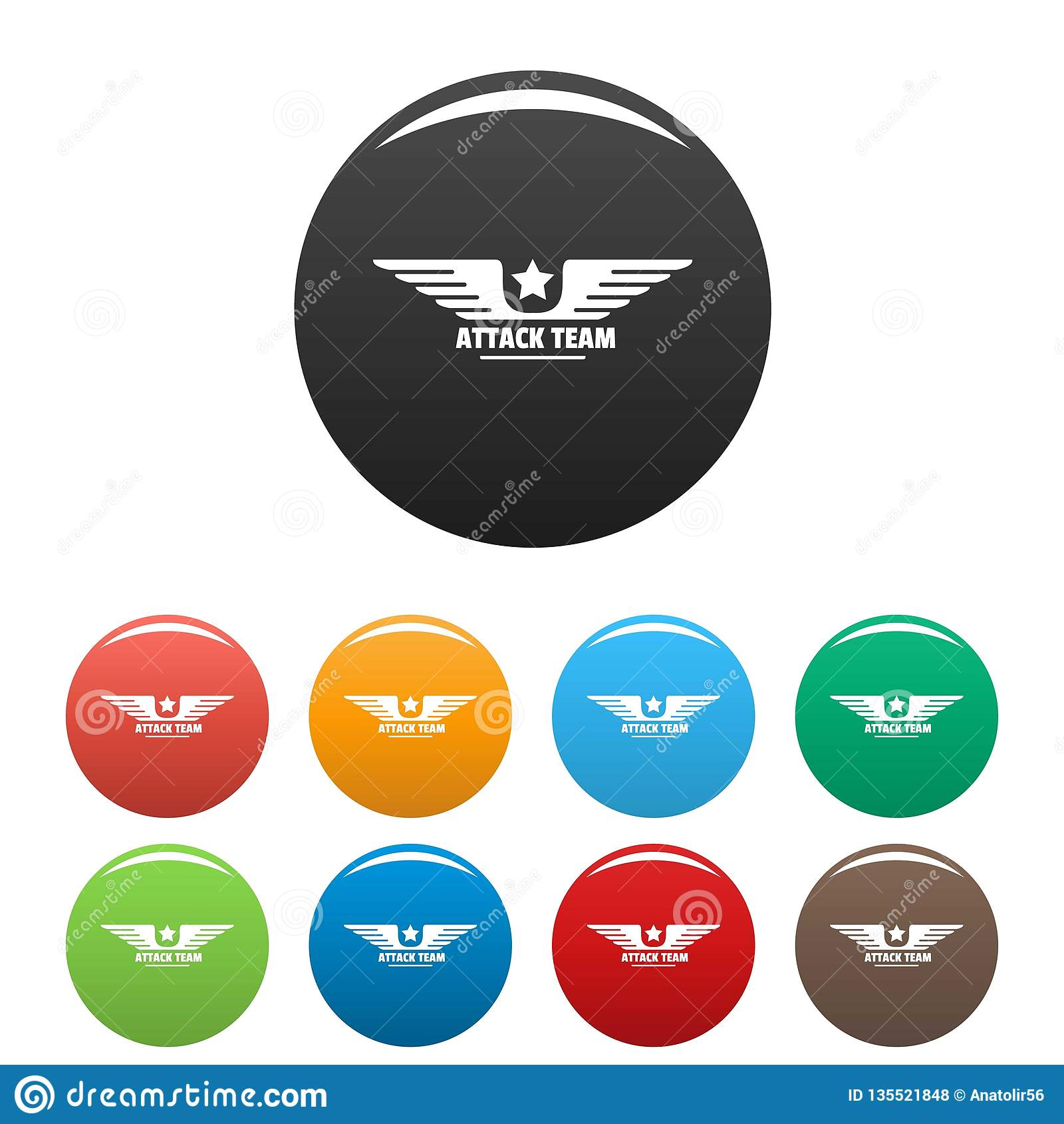 Cor do grupo dos ícones da equipe do avia de Atack