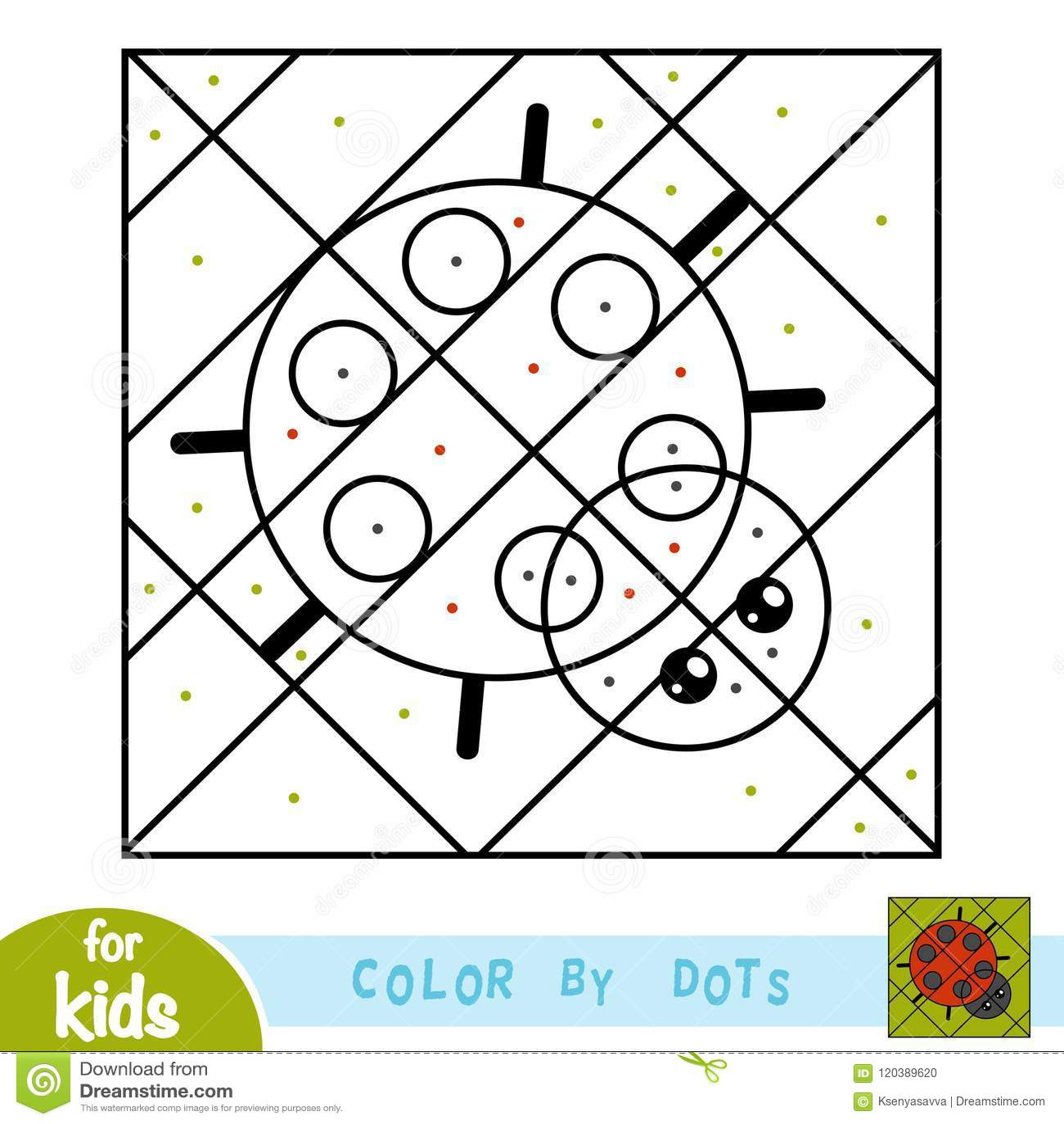 Cor por pontos, jogo para crianças, joaninha