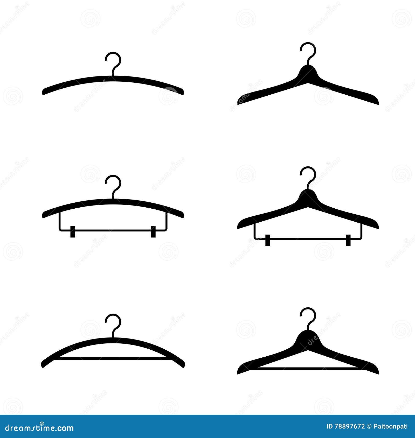 Cor preta ajustada do ícone da silhueta do gancho de roupa