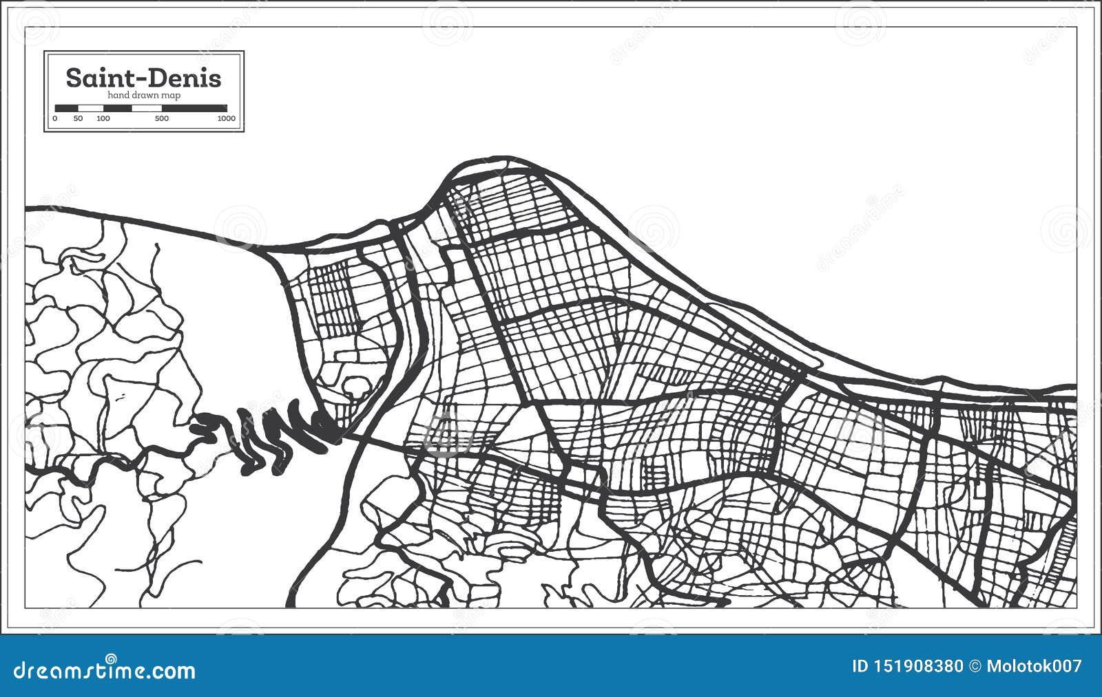 Cor preto e branco do iin de Denis Reunion City Map de Saint Ilustra??o preto e branco do vetor