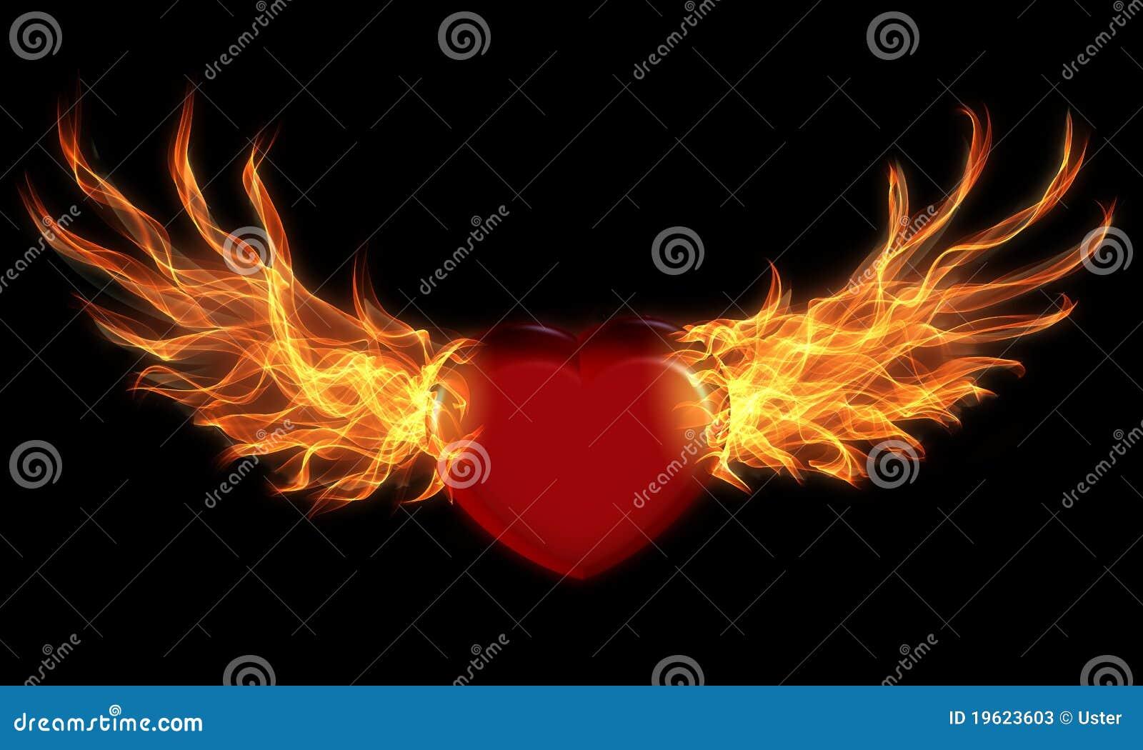 Coração com asas do incêndio