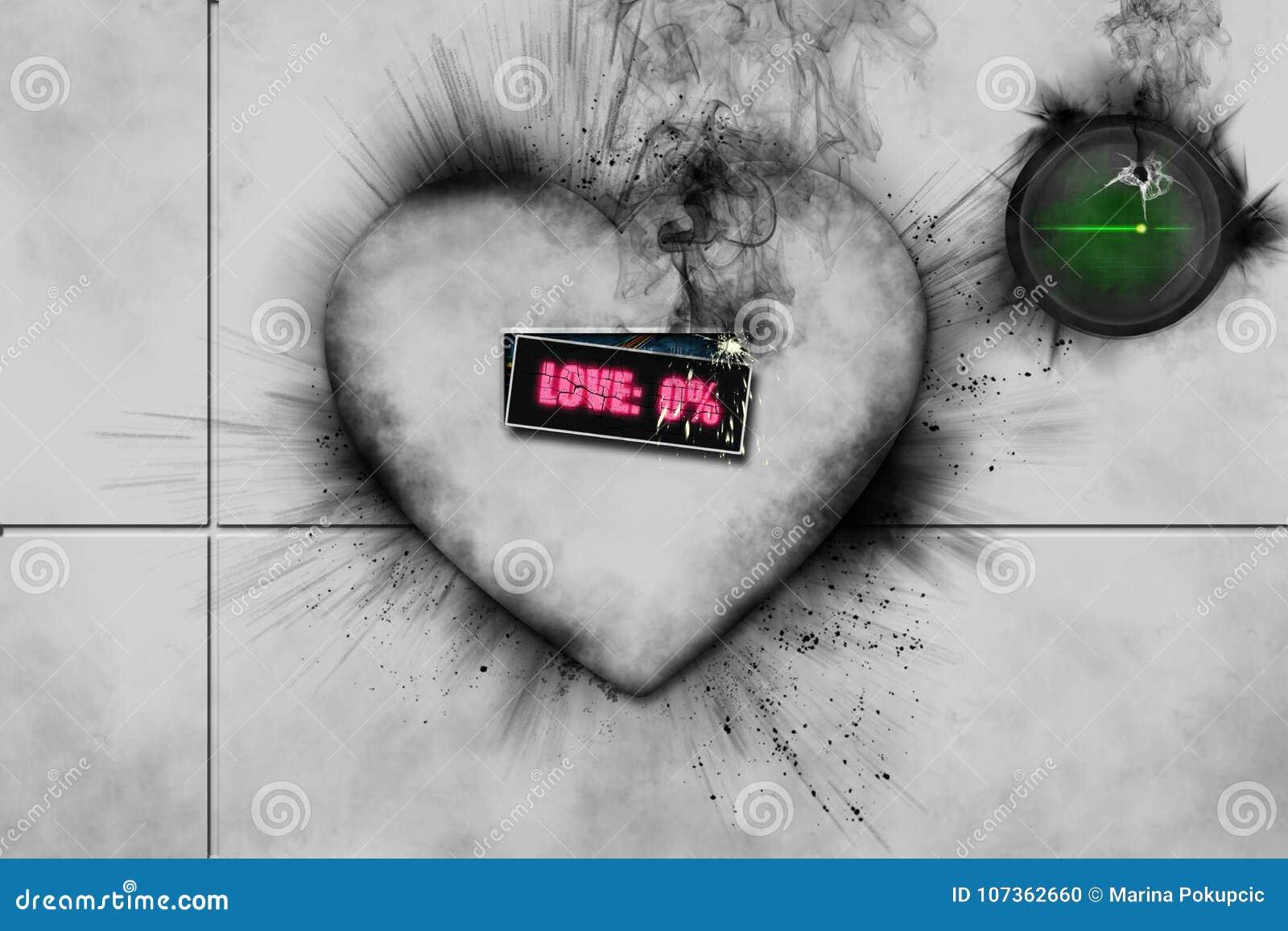 Coração 3D branco quebrado com o fumo preto que vem dele
