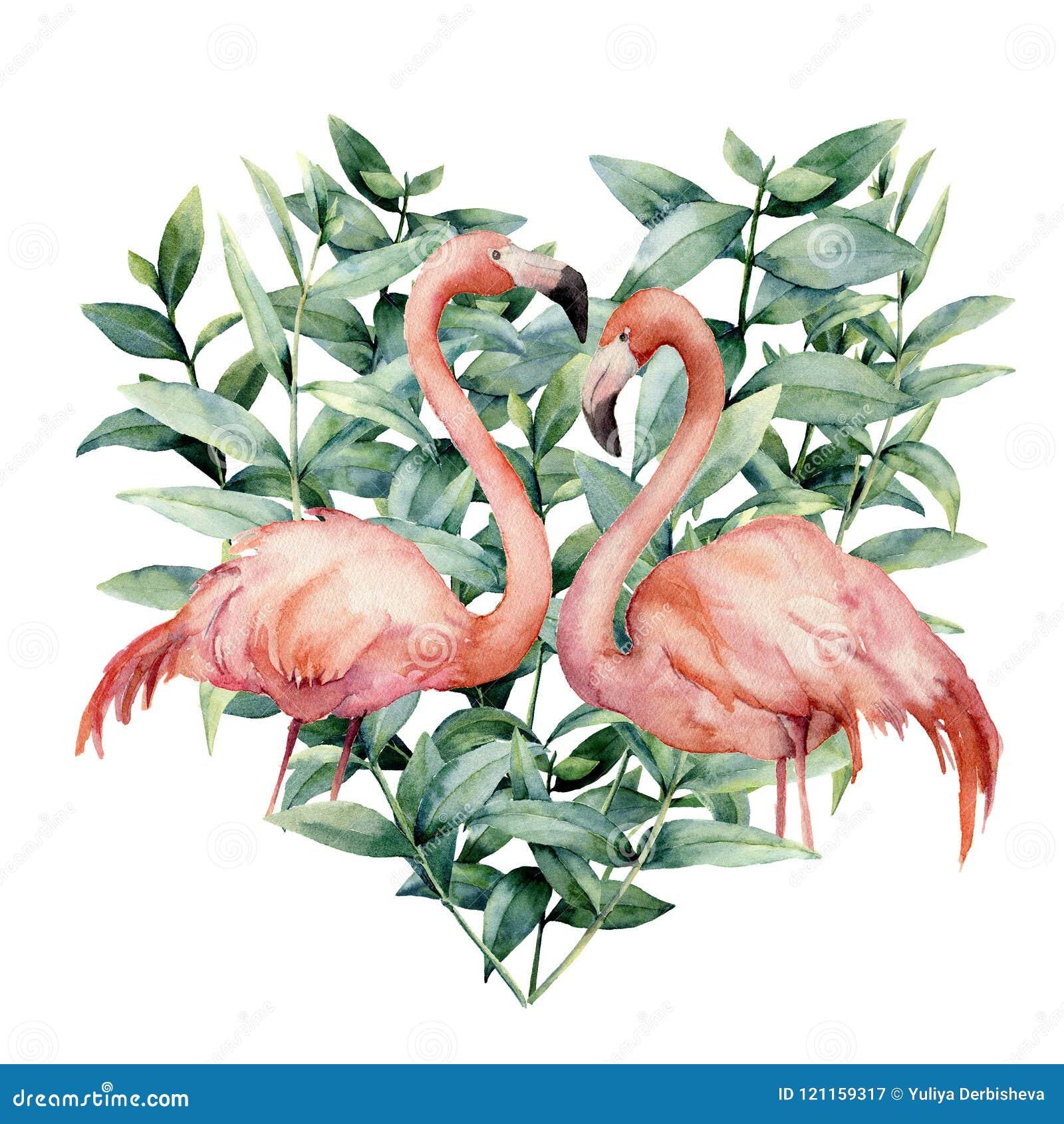 Coração da aquarela com as folhas cor-de-rosa do flamingo e do eucalipto Flamingo cor-de-rosa pintado à mão e folhas isolados no