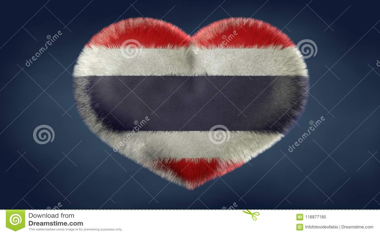 Coração da bandeira de Tailândia