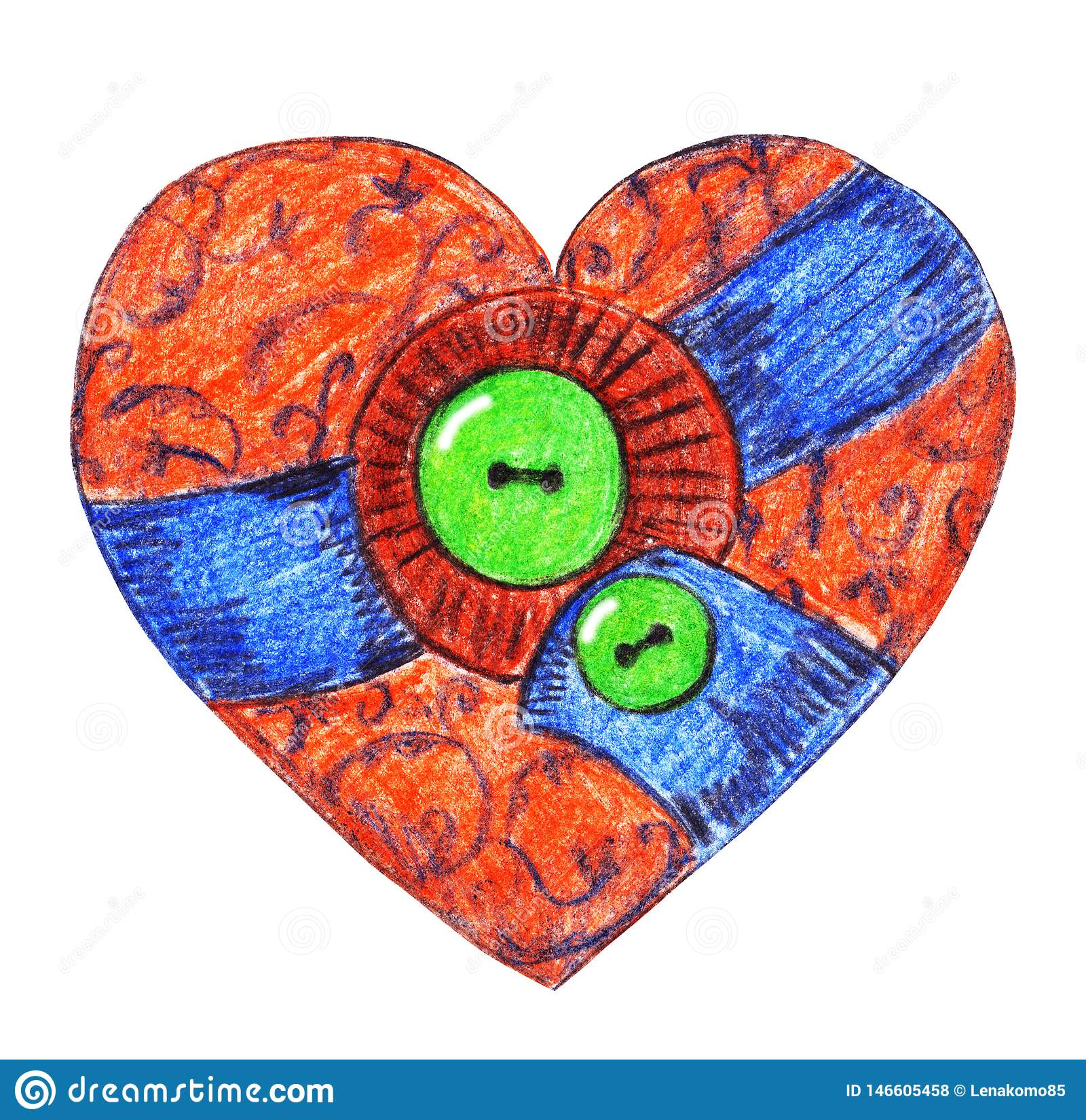 Coração de matéria têxtil do vintage com botões verdes