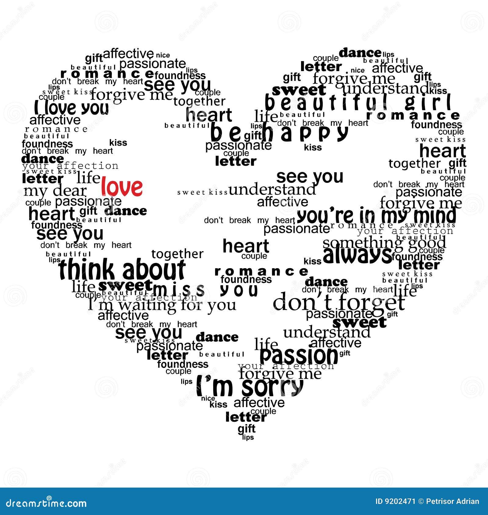 Coração de Velentine feito de palavras do amor
