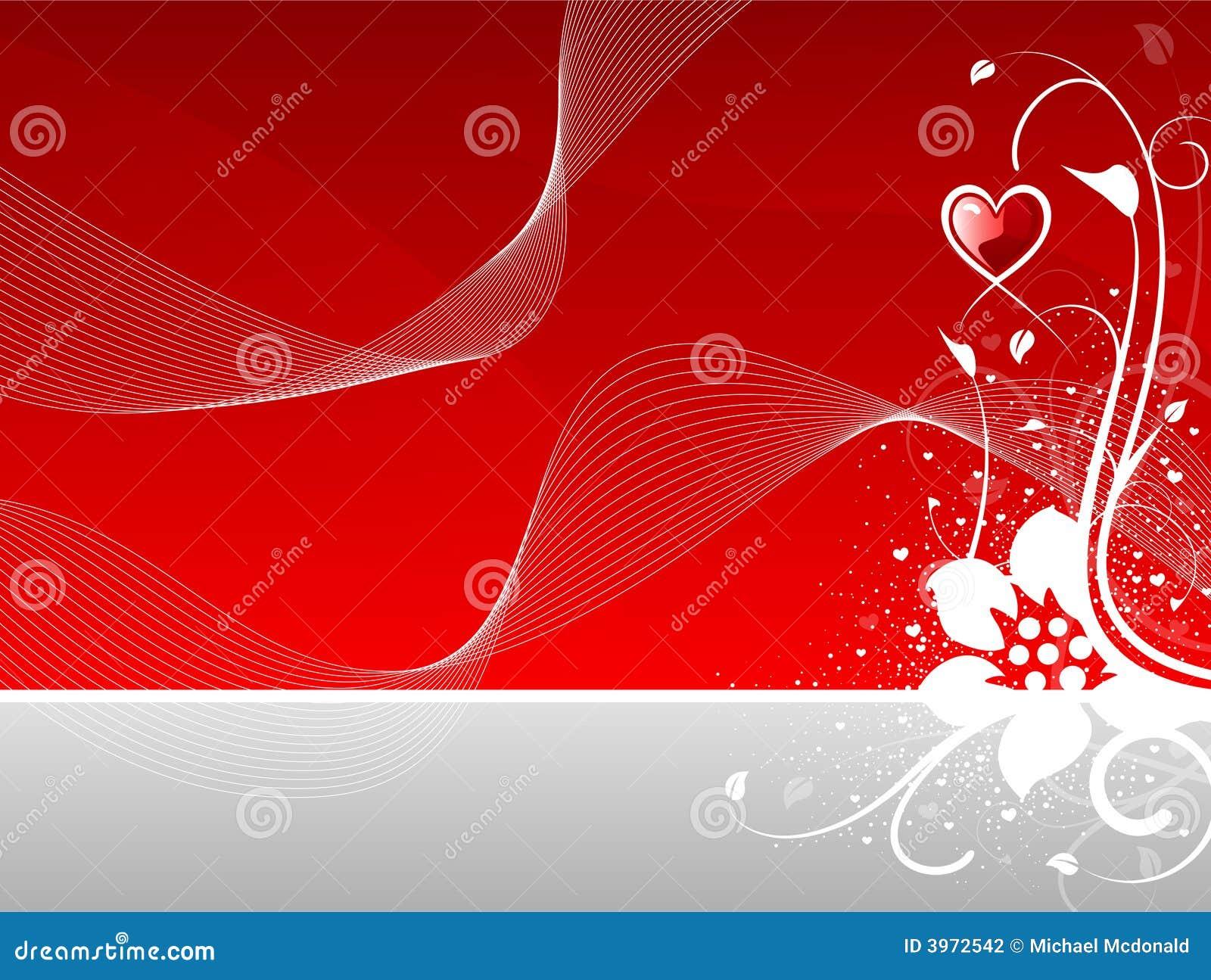 Coração do dia do Valentim floral com ondas abstratas