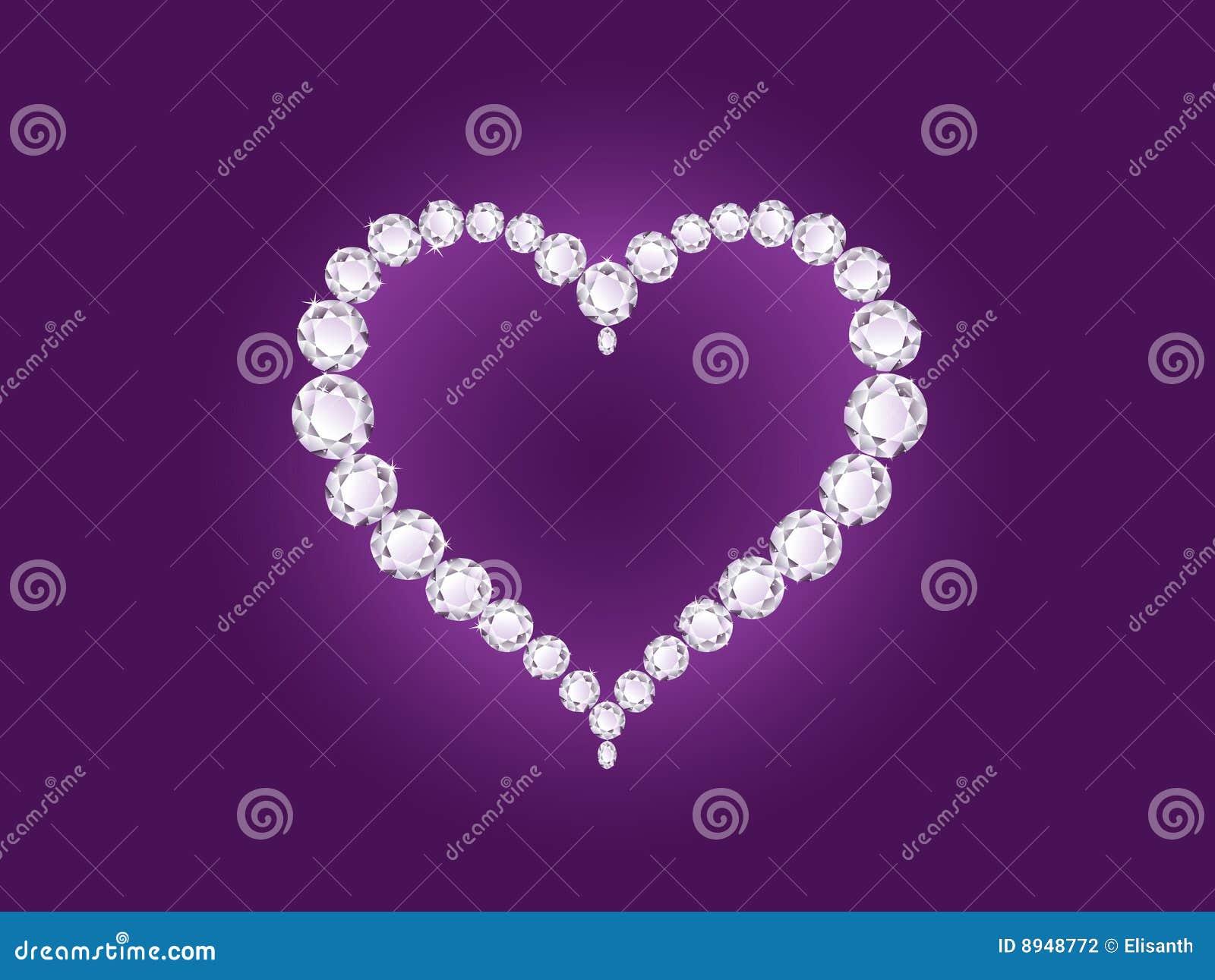 Coração do diamante do vetor no fundo violeta