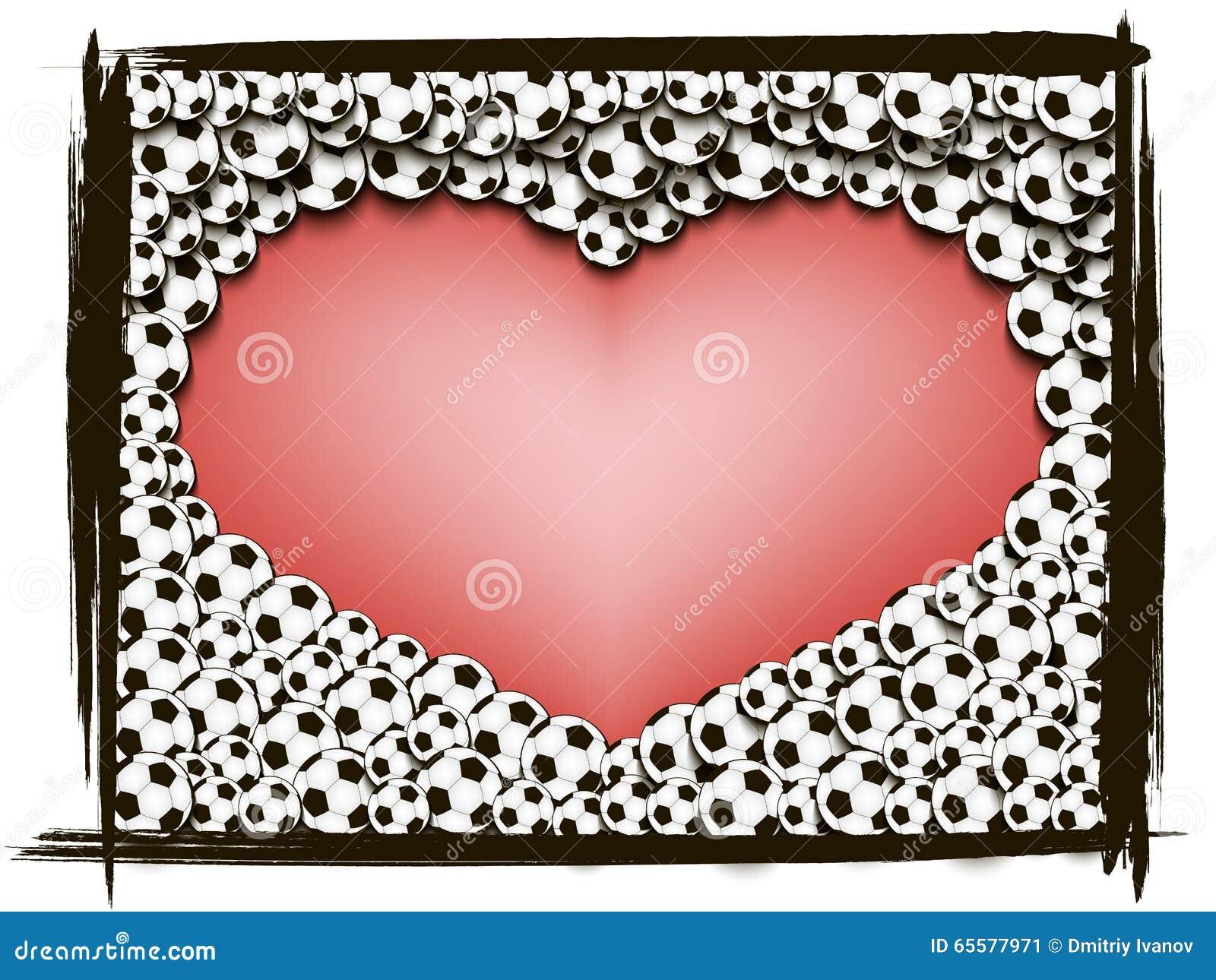 Coração do quadro de bolas de futebol