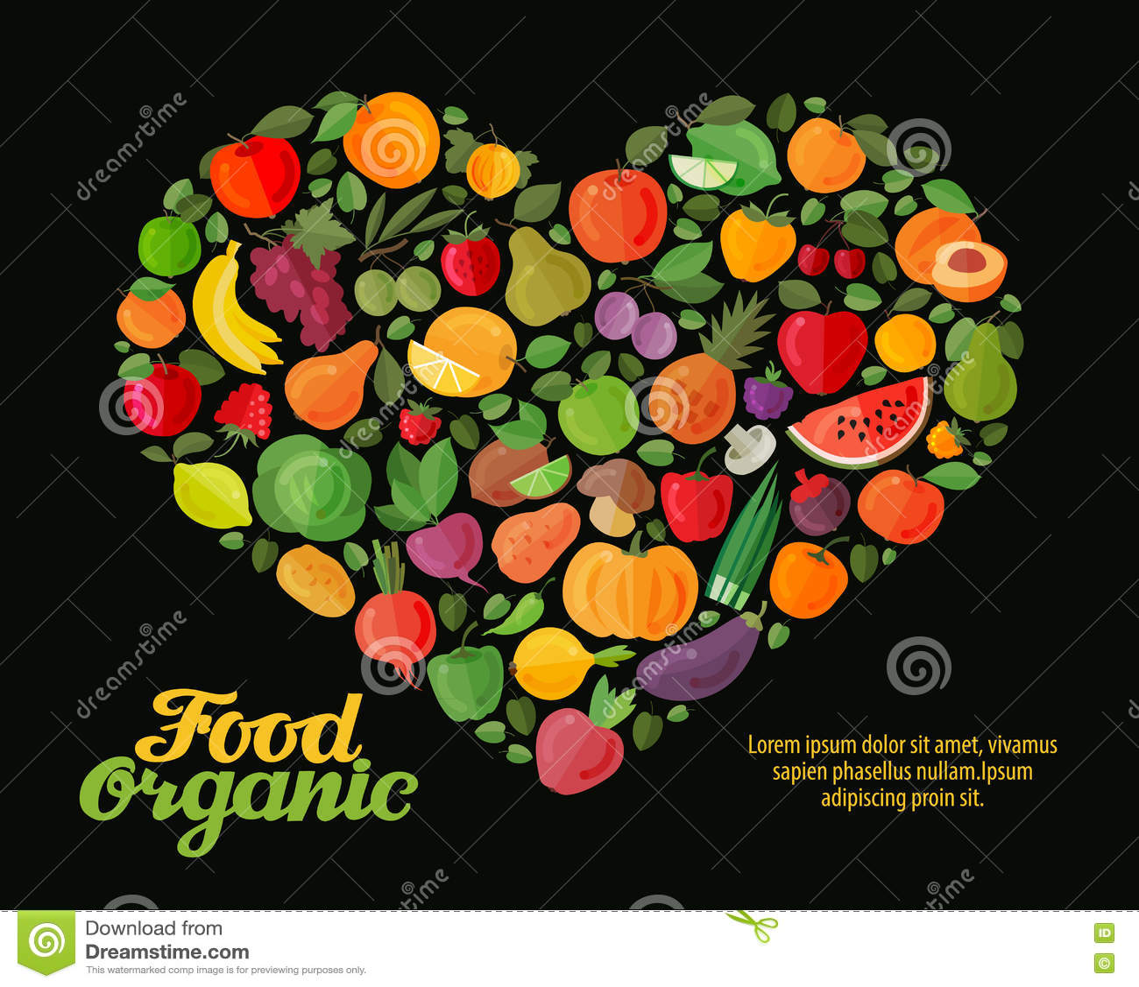 Coração do vetor das frutas e legumes Projeto saudável do alimento