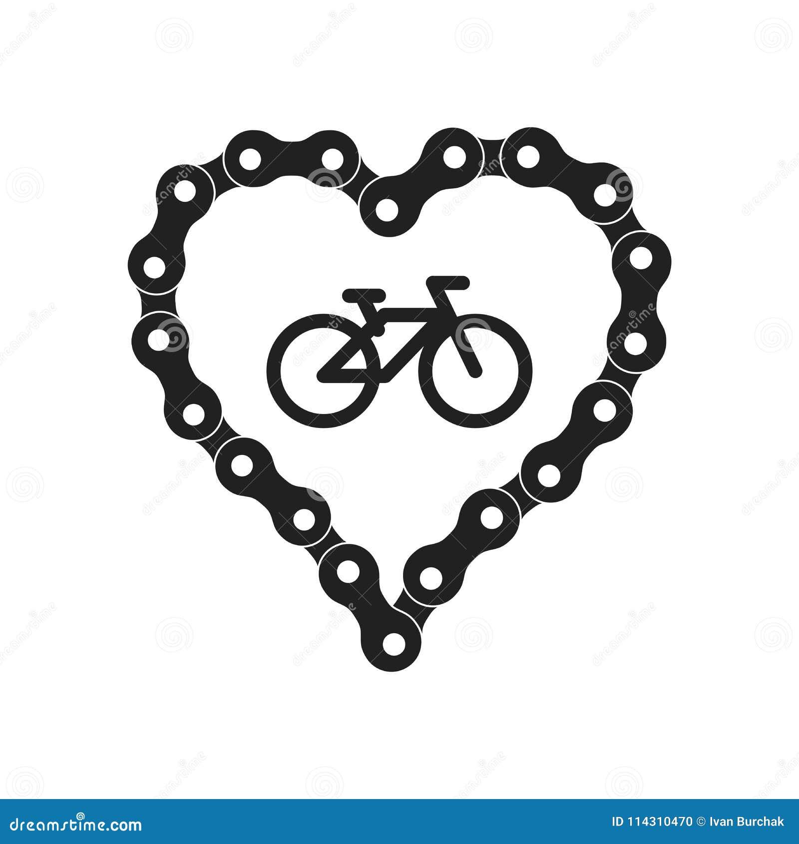 Coração do vetor feito da corrente da bicicleta ou da bicicleta Fundo preto da silhueta do coração mais o ícone da amostra da bic