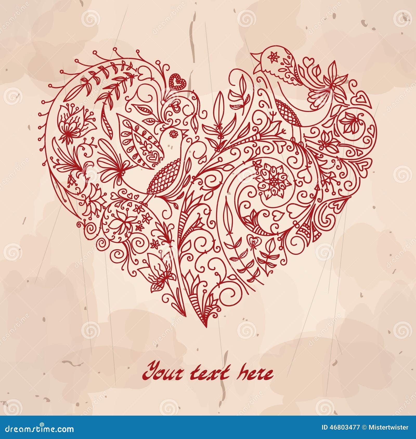 Coração do vetor feito das garatujas pequenas (flores,