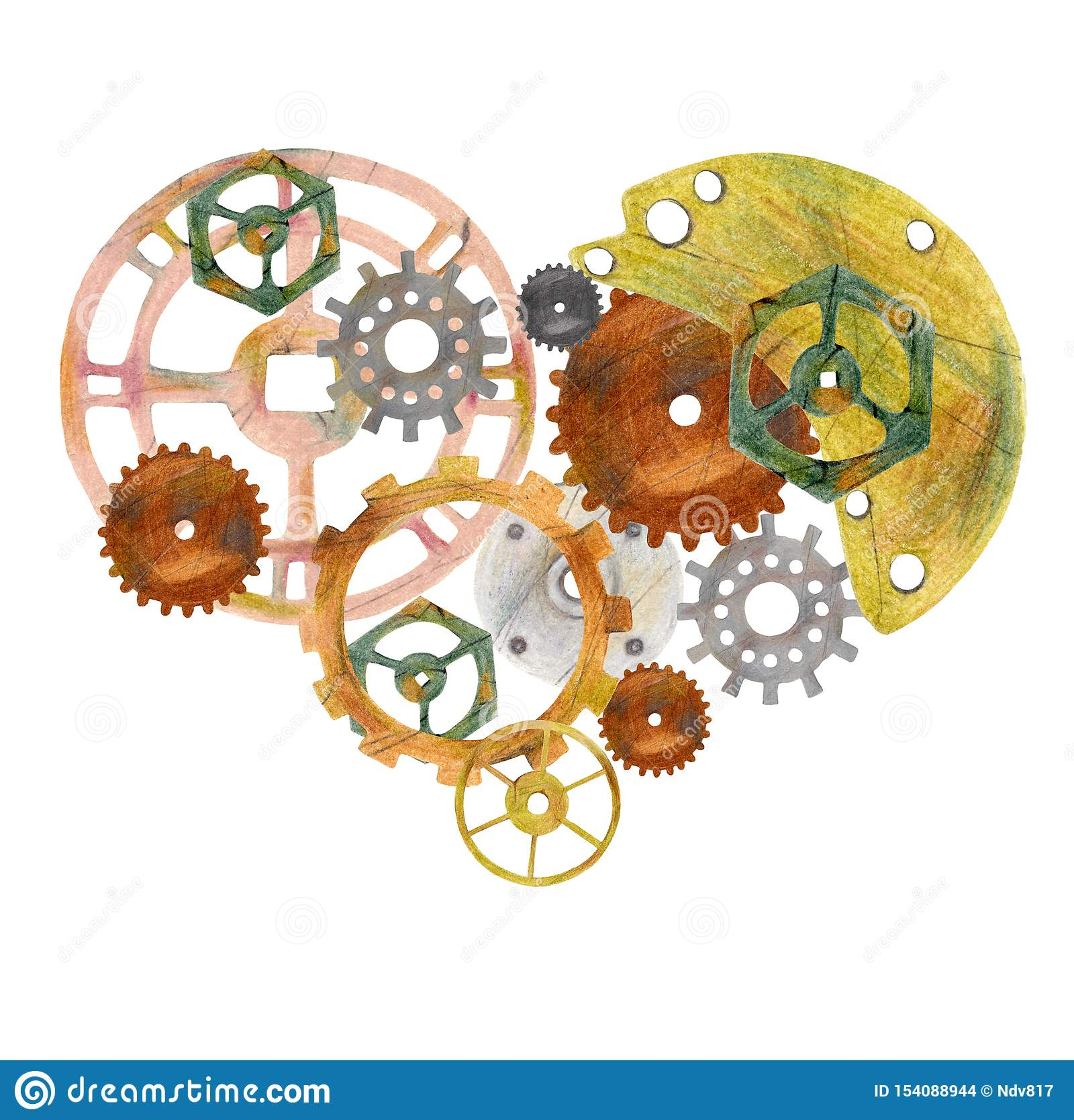 Coração do vintage de Steampunk com rodas denteadas, engrenagens e ventils