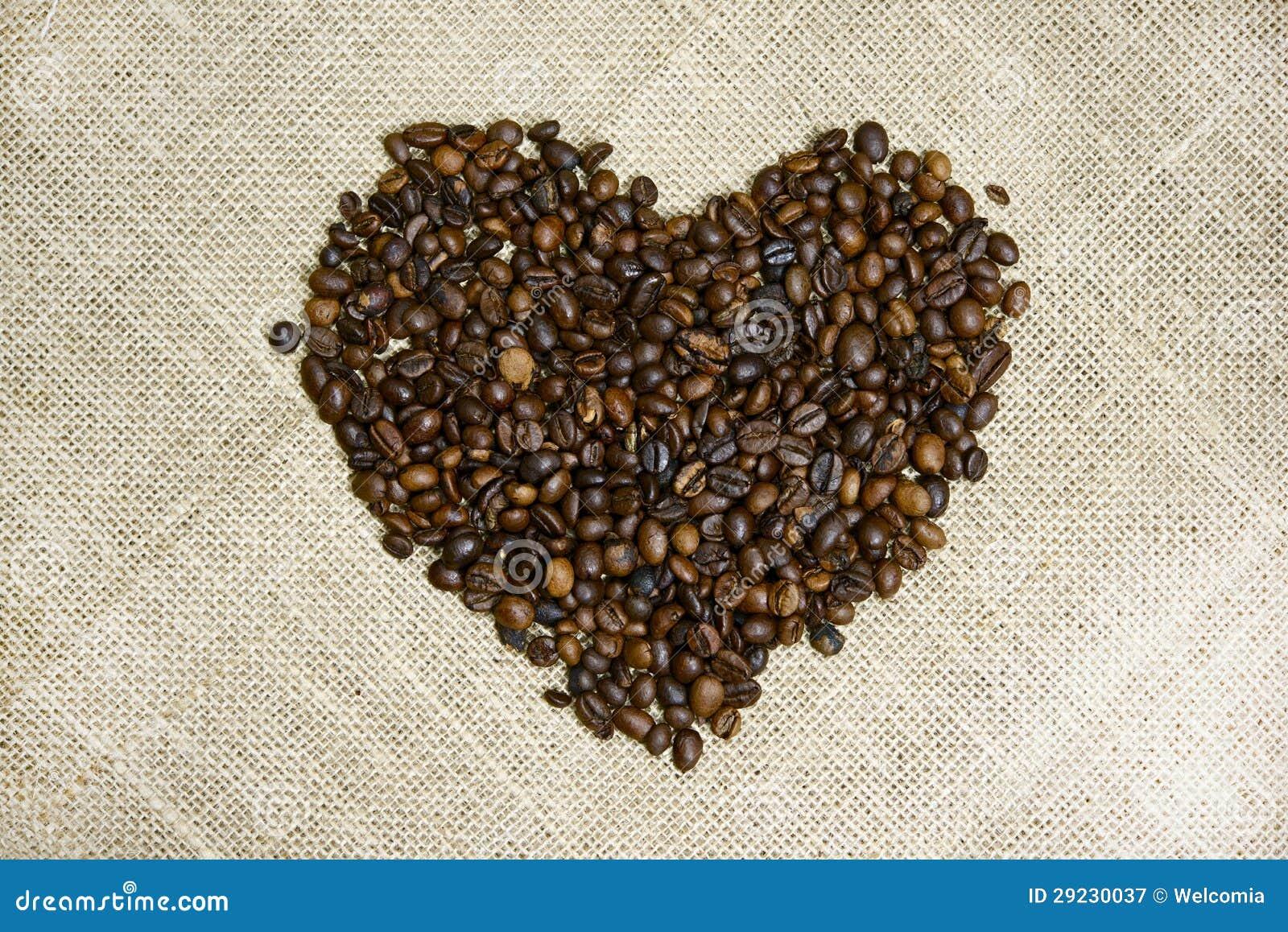 Download Coração Dos Feijões De Café Imagem de Stock - Imagem de manhã, lona: 29230037