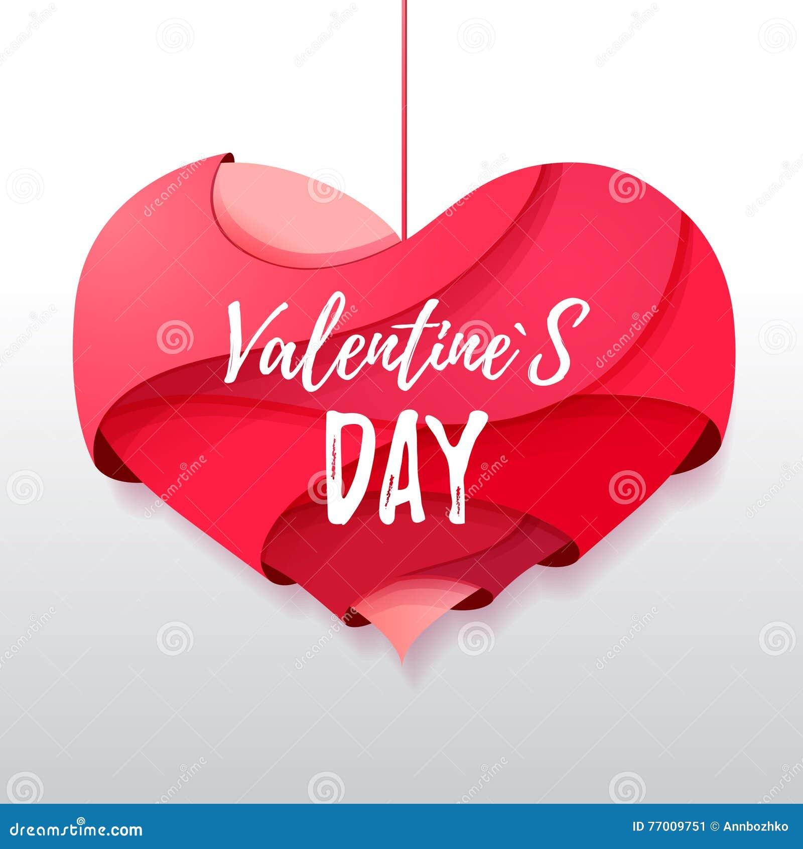 Coração dos Valentim do origâmi 3d Valentine& x27; dia de s