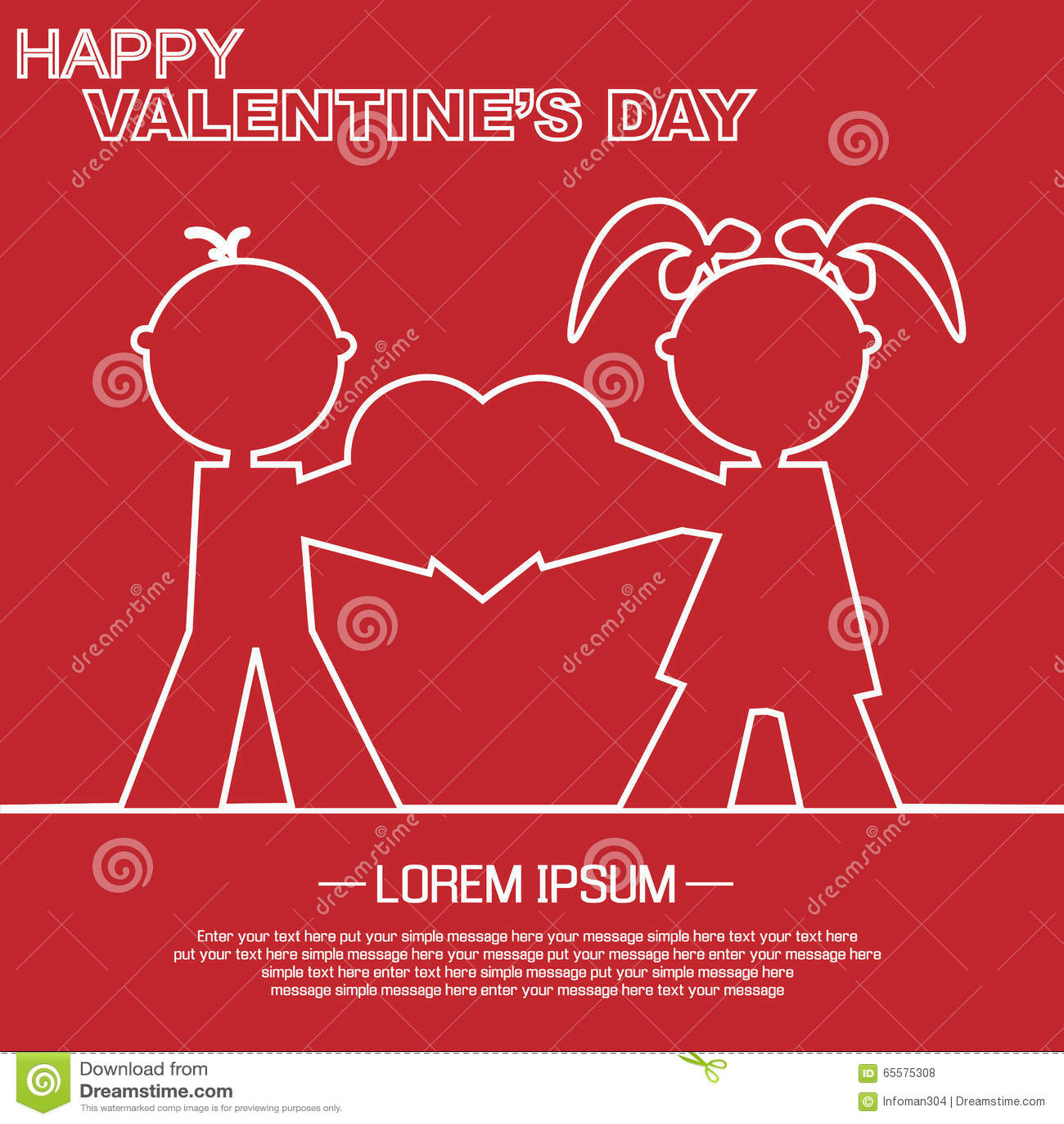 Coração e amor do dia de Valentim
