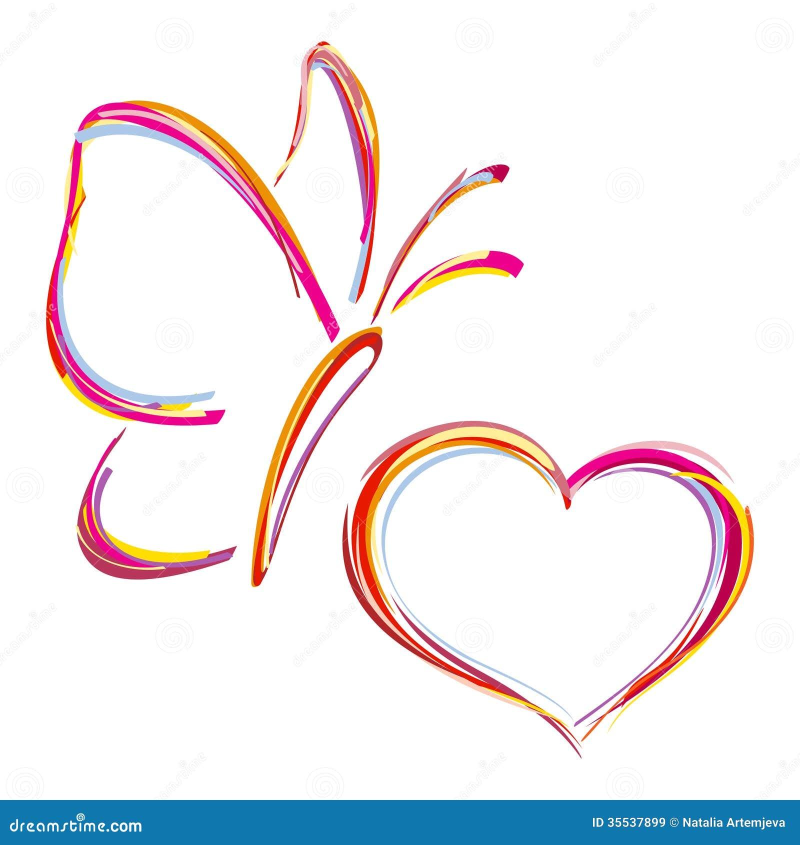 Coração e borboleta pintados