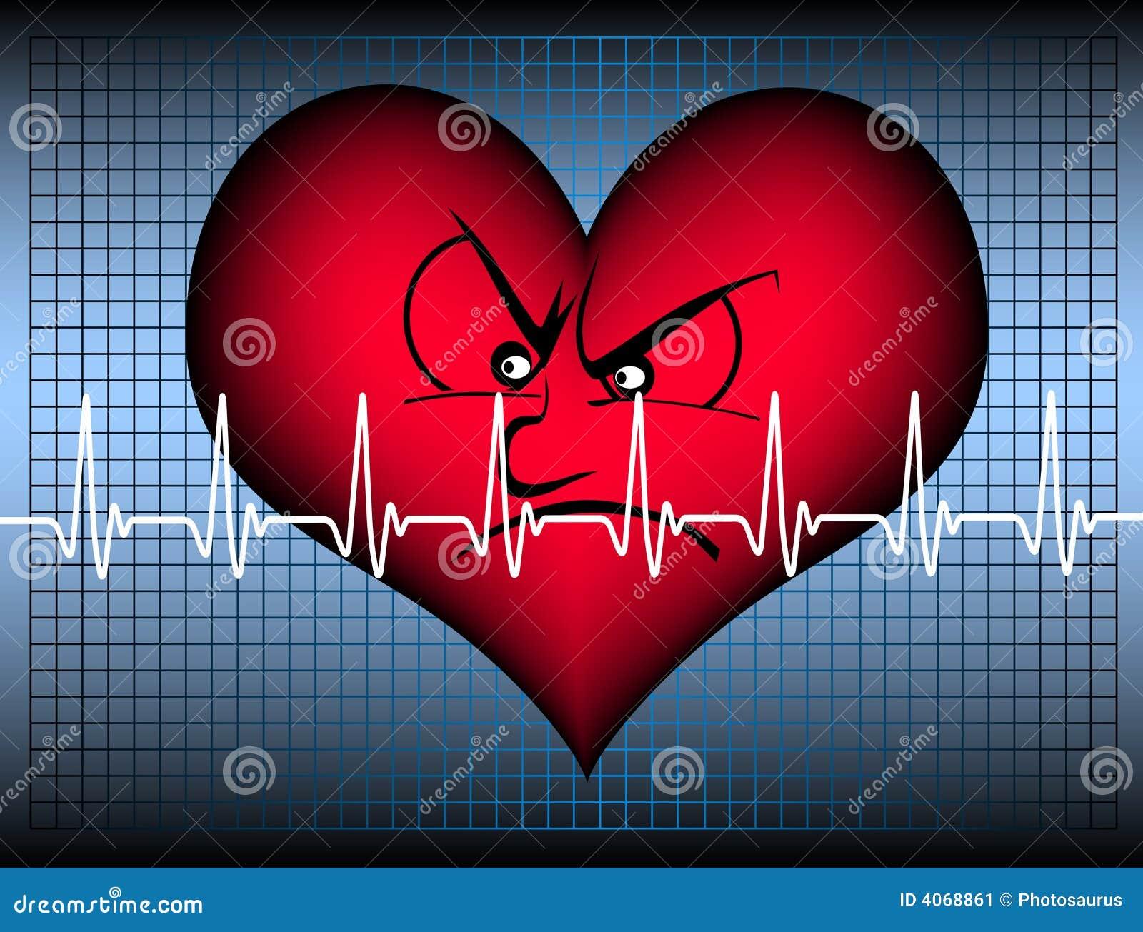 Coração irritado com cardiogramm