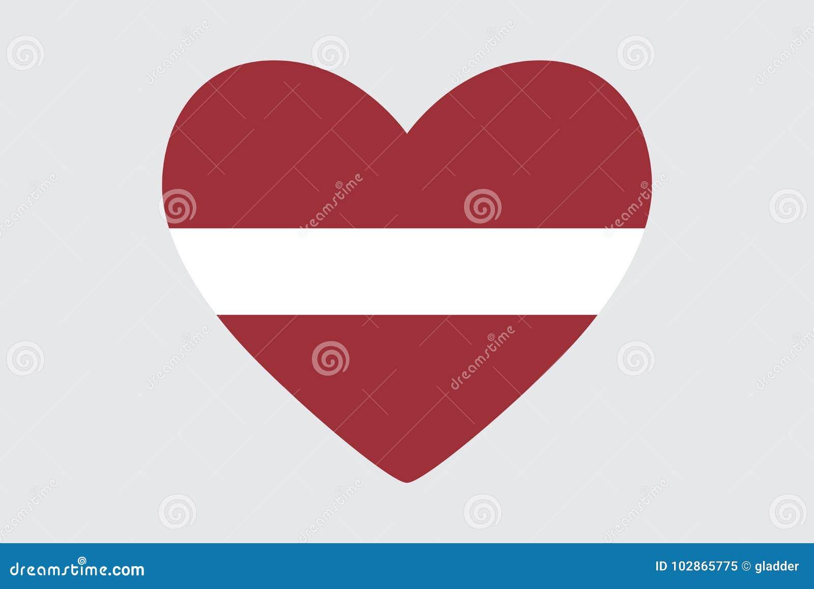 coração nas cores da bandeira de letónia ilustração stock