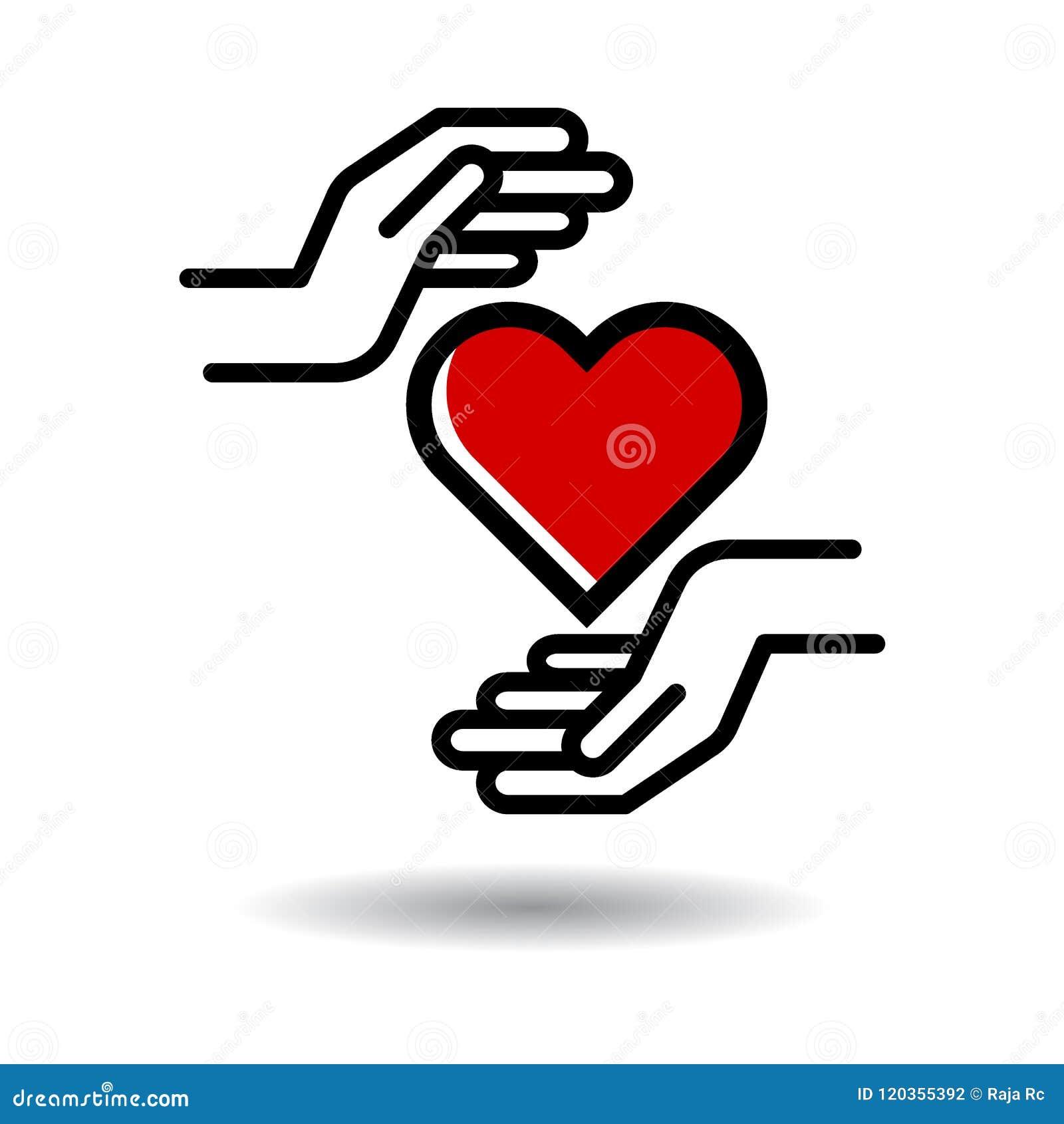 Coração no ícone das mãos