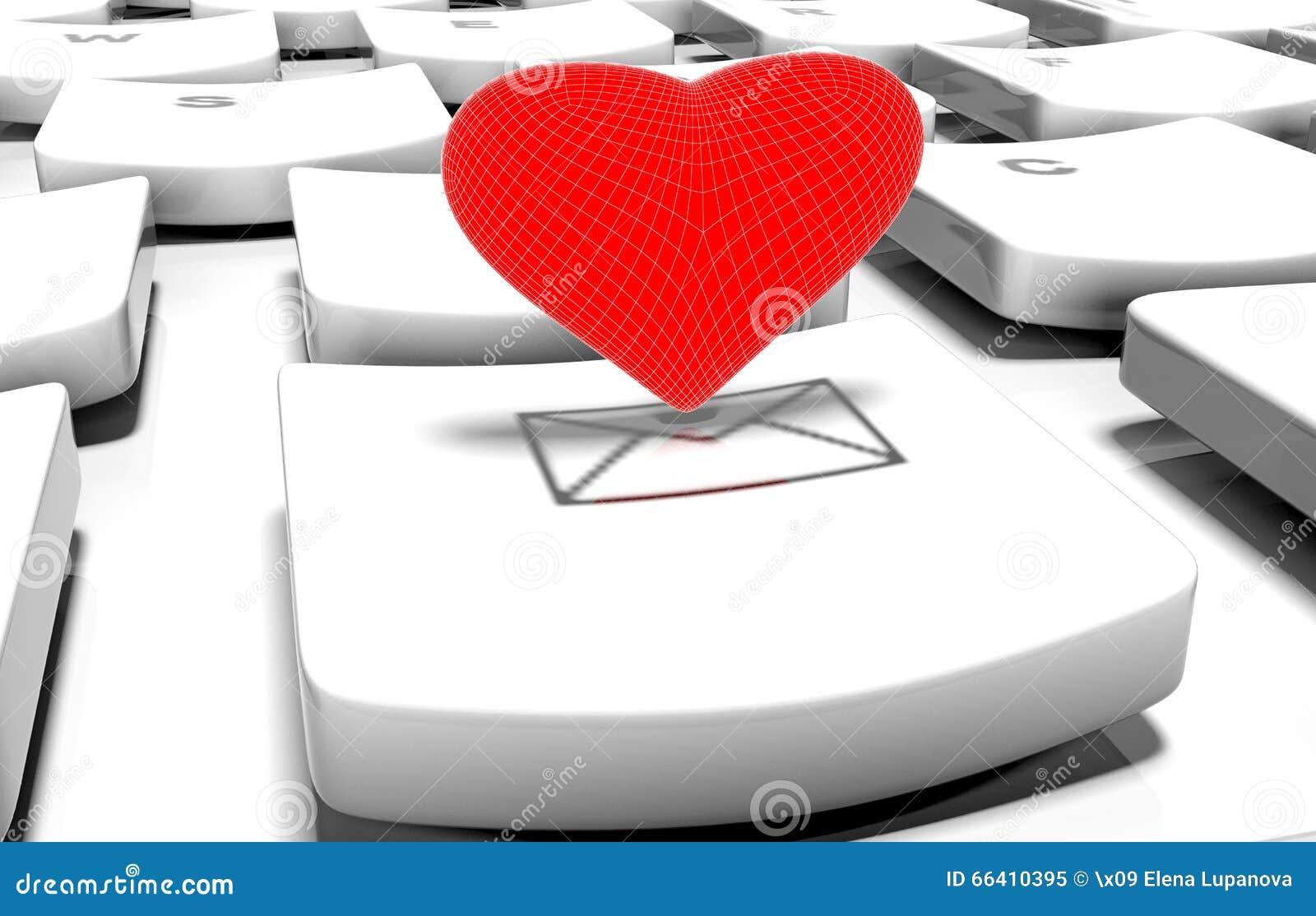Coração no teclado de computador