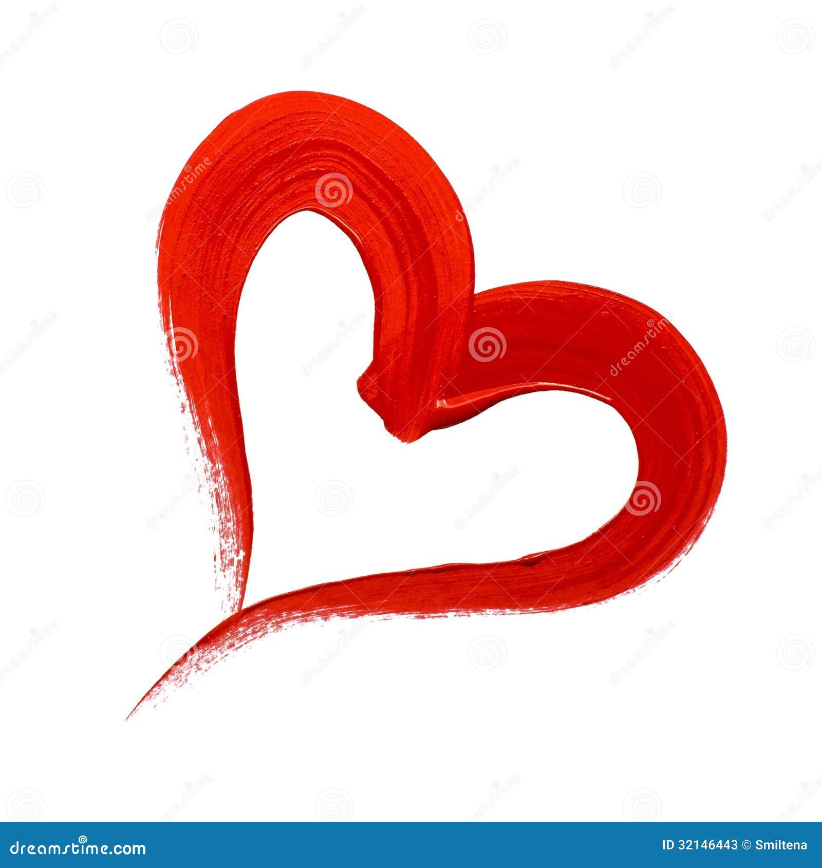 Coração pintado vermelho