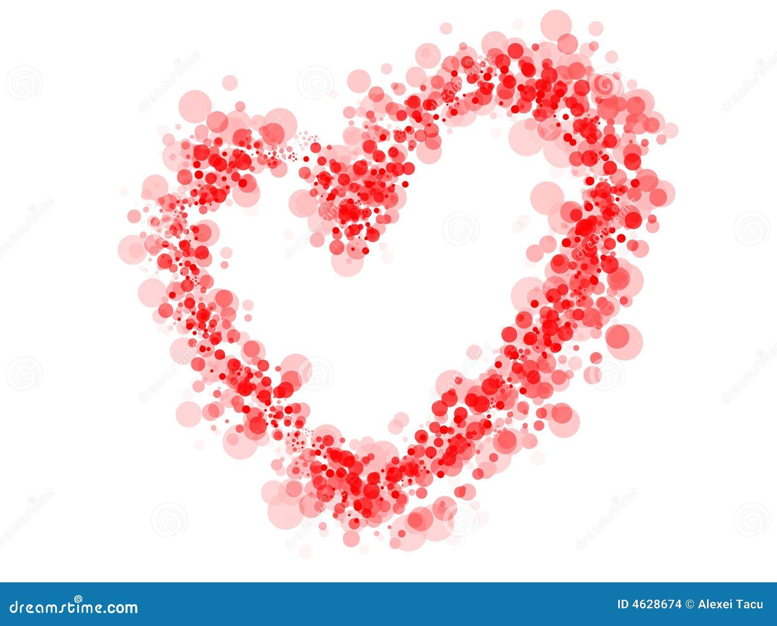 Coração pontilhado vermelho