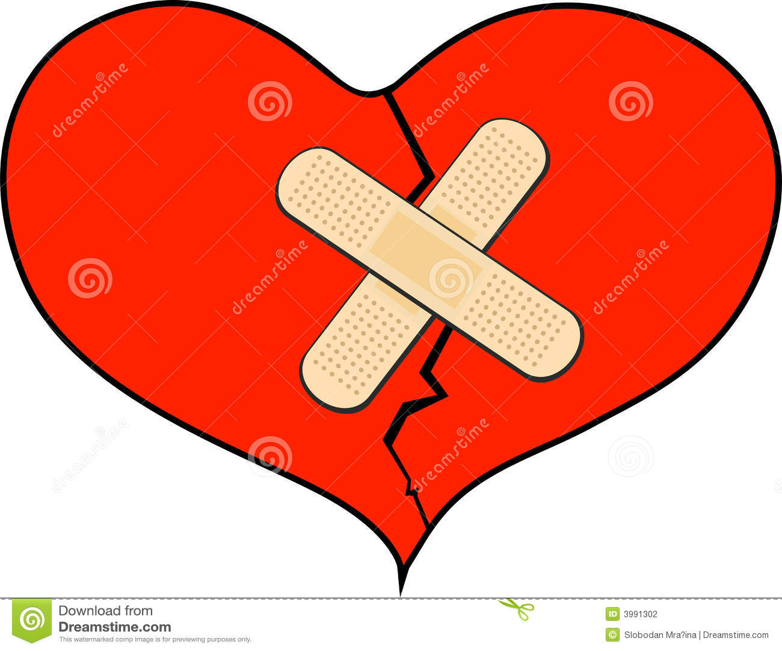 Coração quebrado com atadura