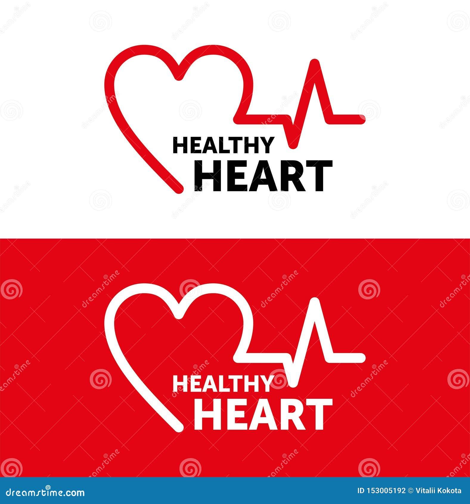 Coração saudável do logotipo Linha projeto do vetor Ilustra??o vermelha Projeto gr?fico