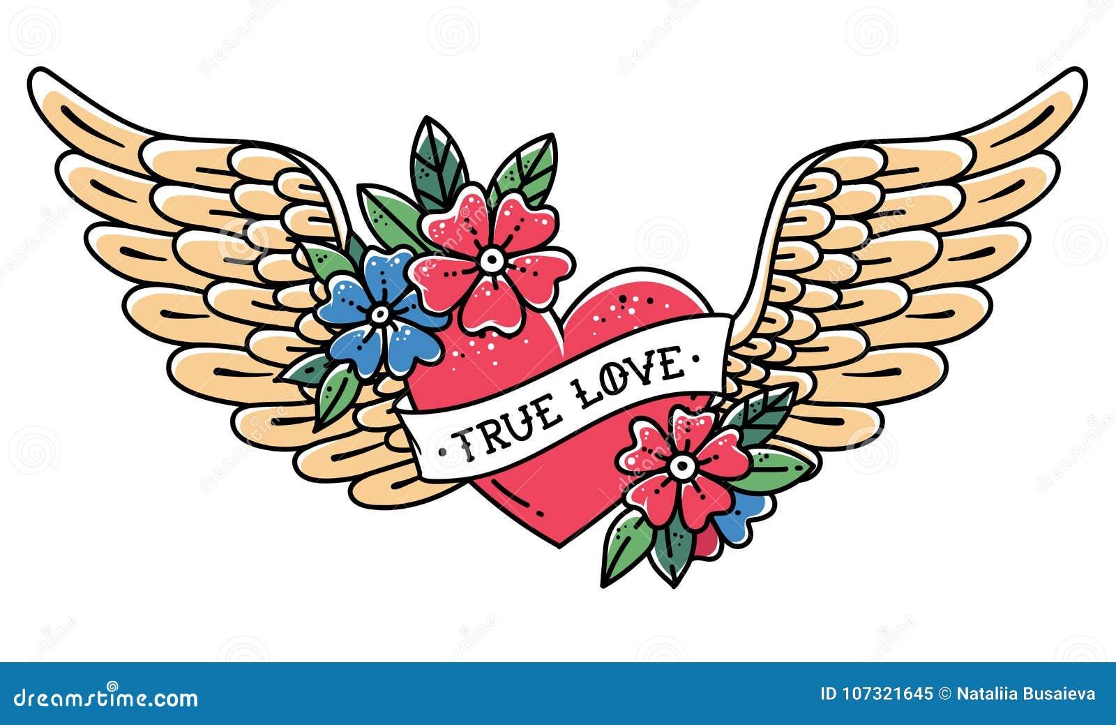 Coração tirado mão do voo da tatuagem com asas Coração da tatuagem com fita e flores Tatuagem com AMOR VERDADEIRO da frase
