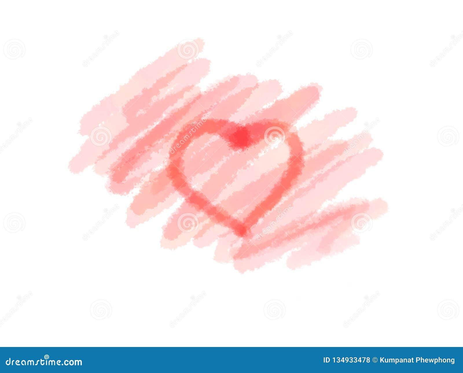 Coração vermelho abstrato da cor de água da tinta e para encher-se no fundo branco para a venda, a bandeira ou o texto