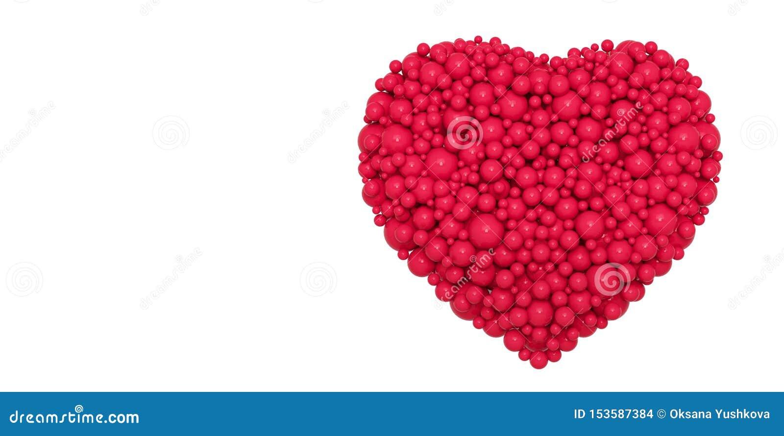 Coração vermelho abstrato das bolas - ilustração 3D