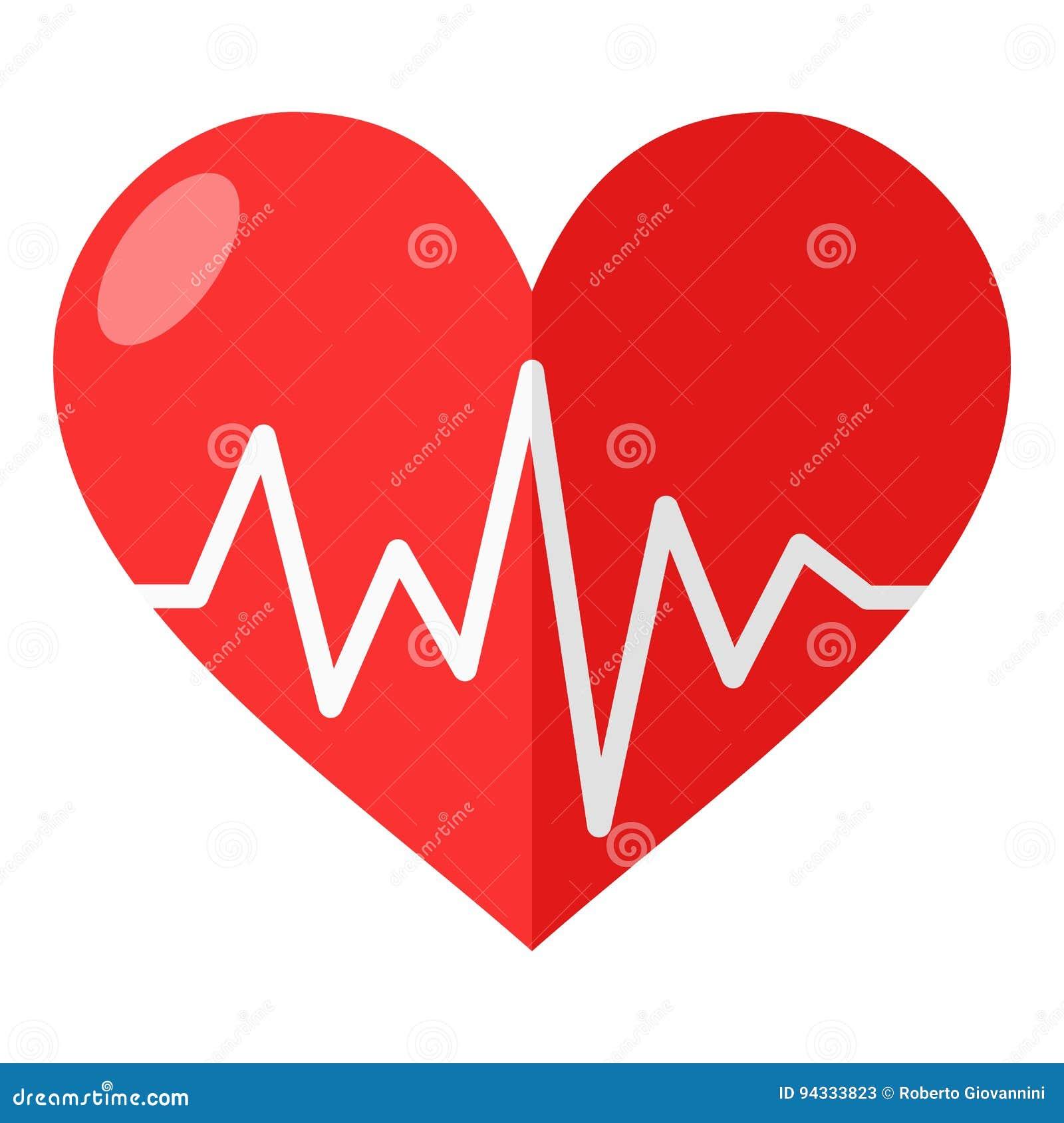 Coração vermelho com ícone liso do eletrocardiograma