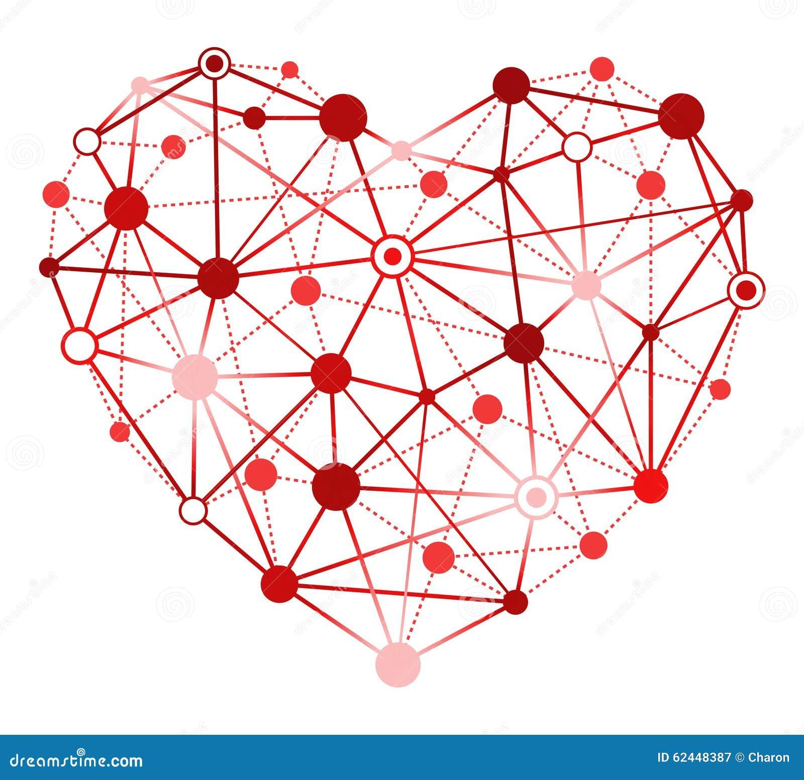 Coração vermelho com pontos de conexão