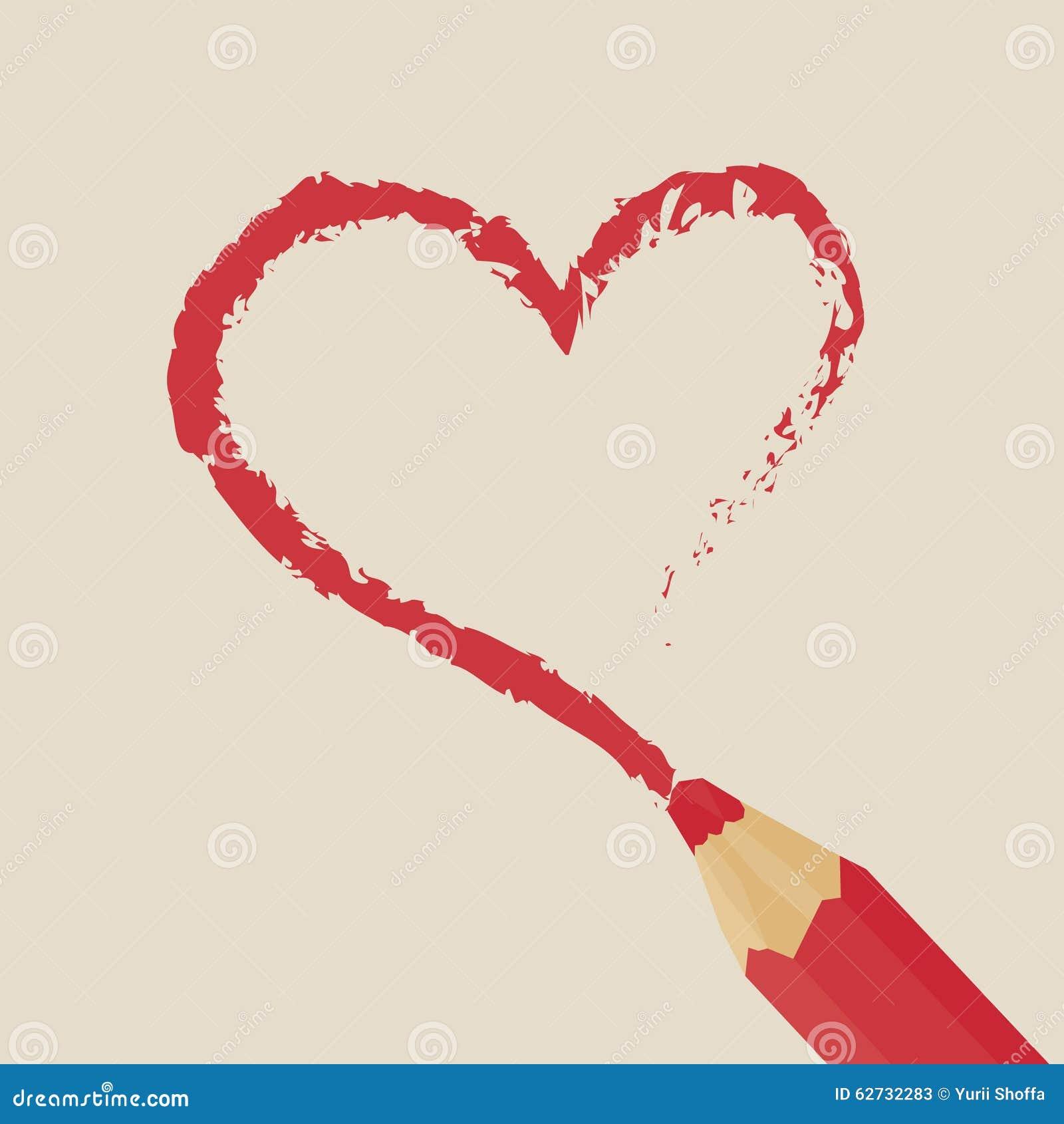 Coracao Vermelho Do Desenho De Lapis Ilustracao Stock Ilustracao