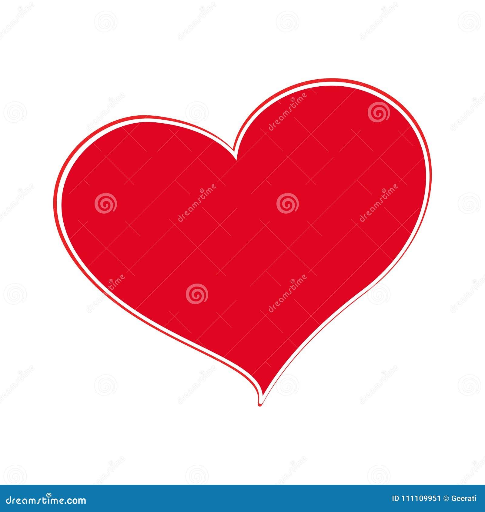 Coração vermelho isolado no fundo branco, ilustração do vetor