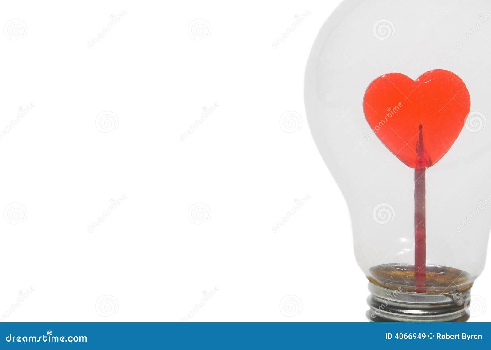 Coração vermelho na ampola